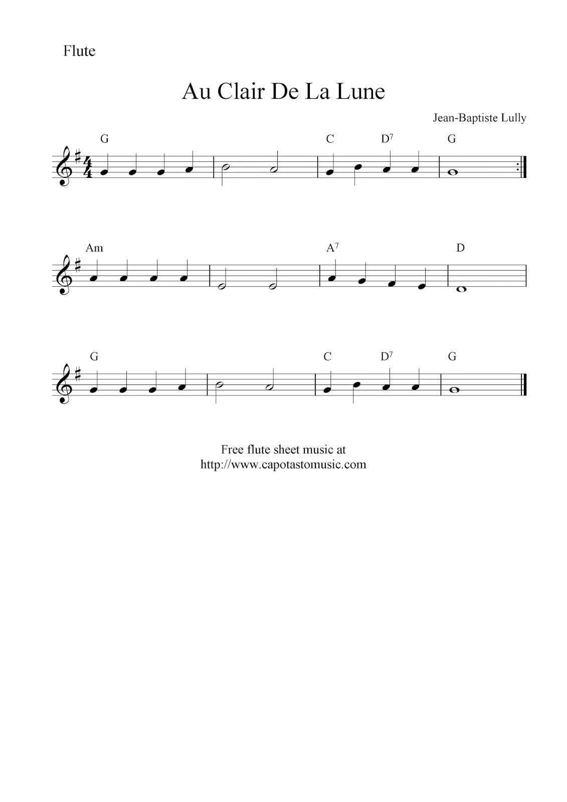 Au Clair De La Lune, Free Flute Sheet Music Notes - Free Printable Flute Music