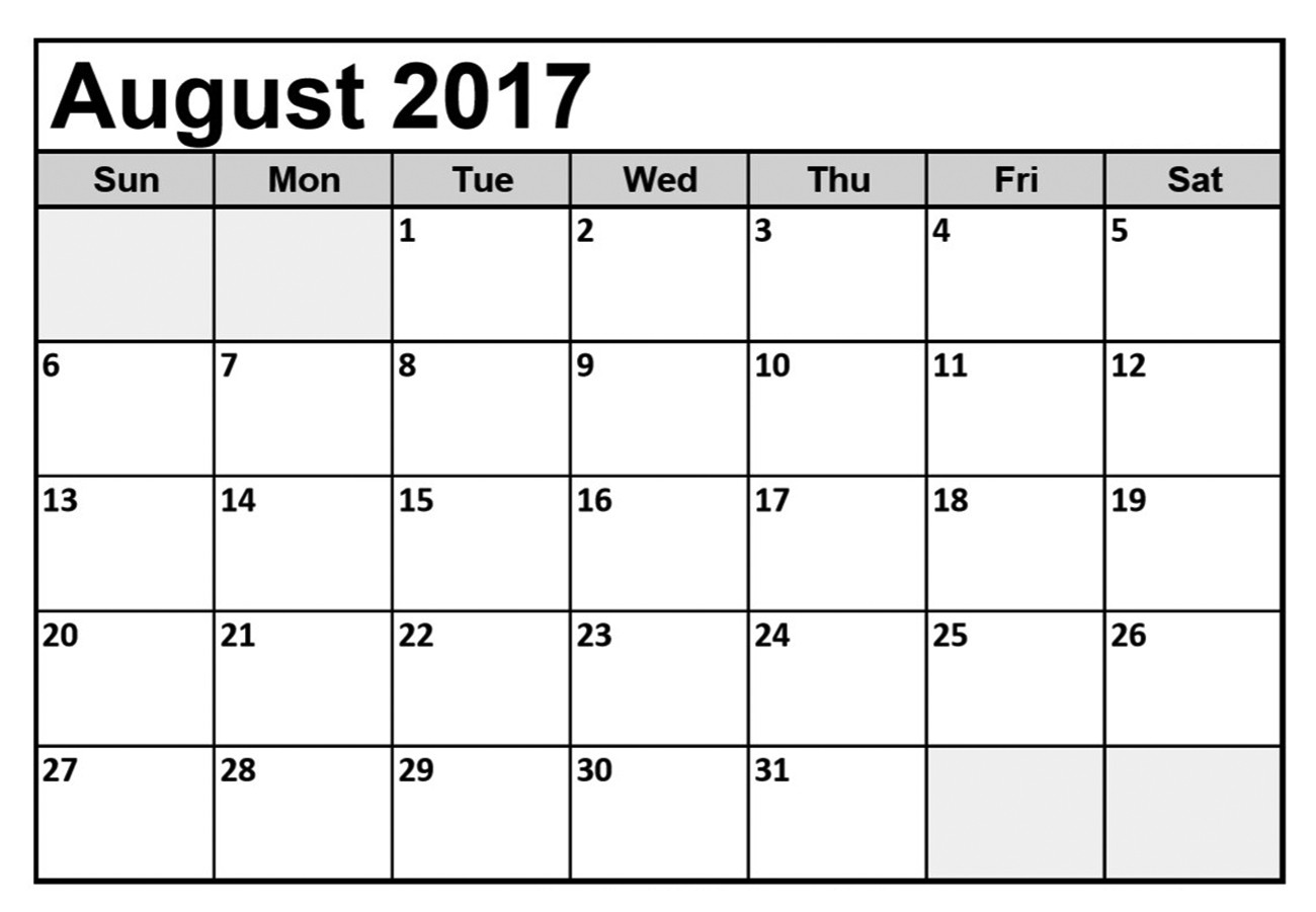 August 2017 Calendar With Holidays - Printable Monthly Calendar - Free Printable August 2017