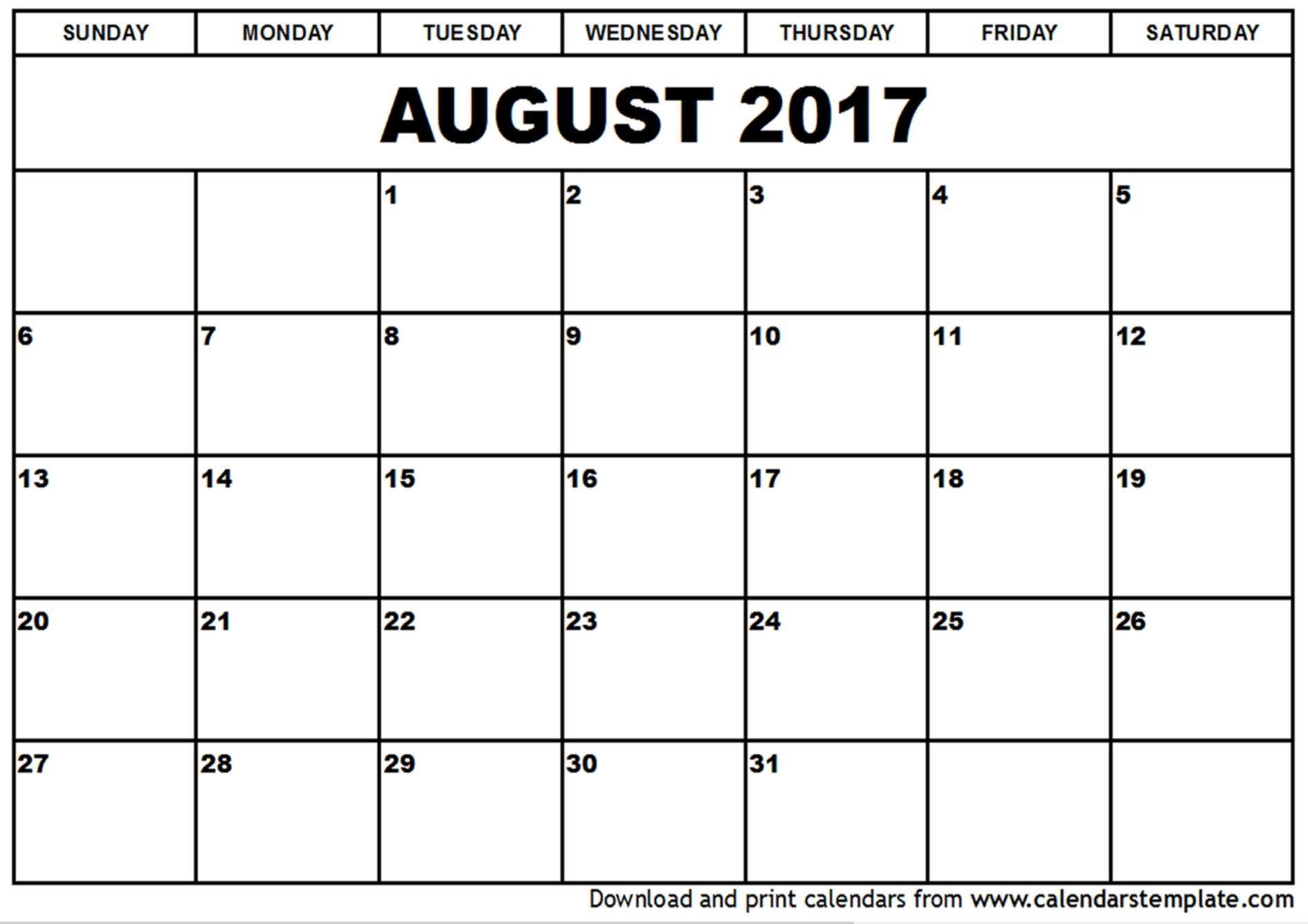 August 2017 Printable Calendar   August 2017 Calendar   Pinterest - Free Printable August 2017