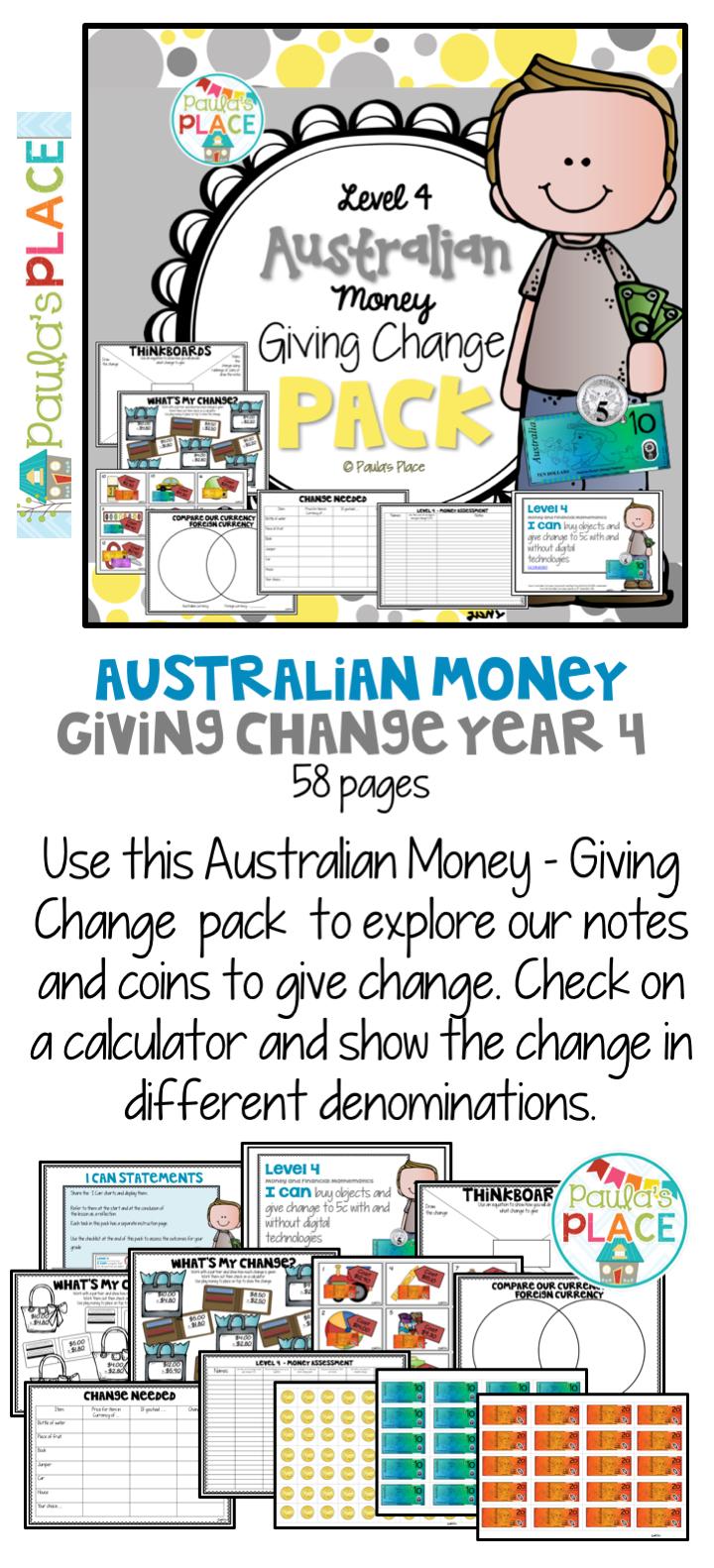 Australian Money Giving Change | Tpt Downunder Tribe | Pinterest - Free Printable Australian Notes