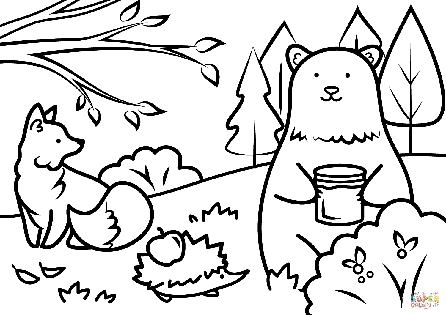 Autumn Animals Coloring Page | Free Printable Coloring Pages - Free Printable Autumn Coloring Sheets