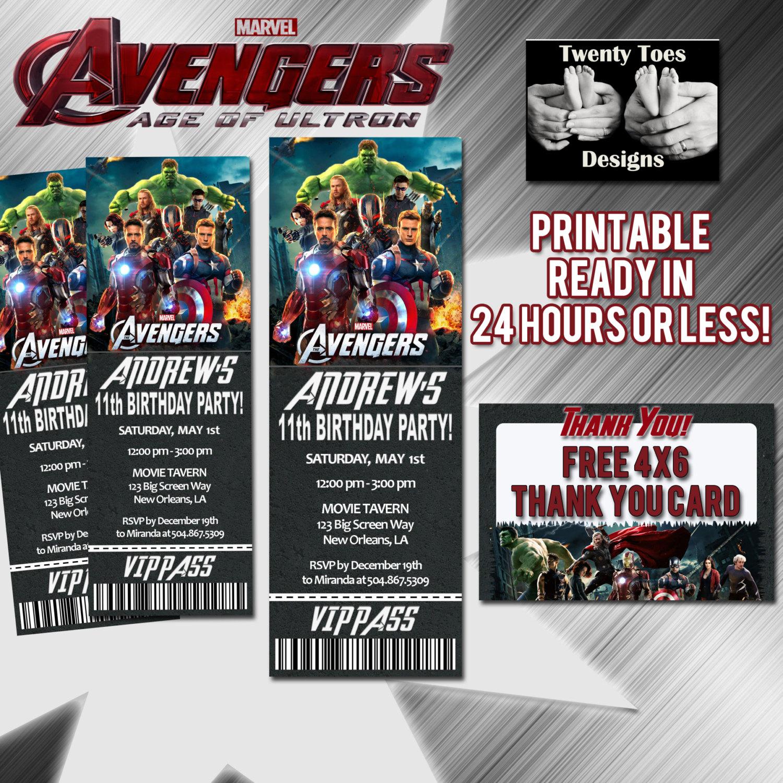 Avengers Movie Birthday Party Movie Pass Birthday Party | Etsy - Avengers Party Invitations Printable Free