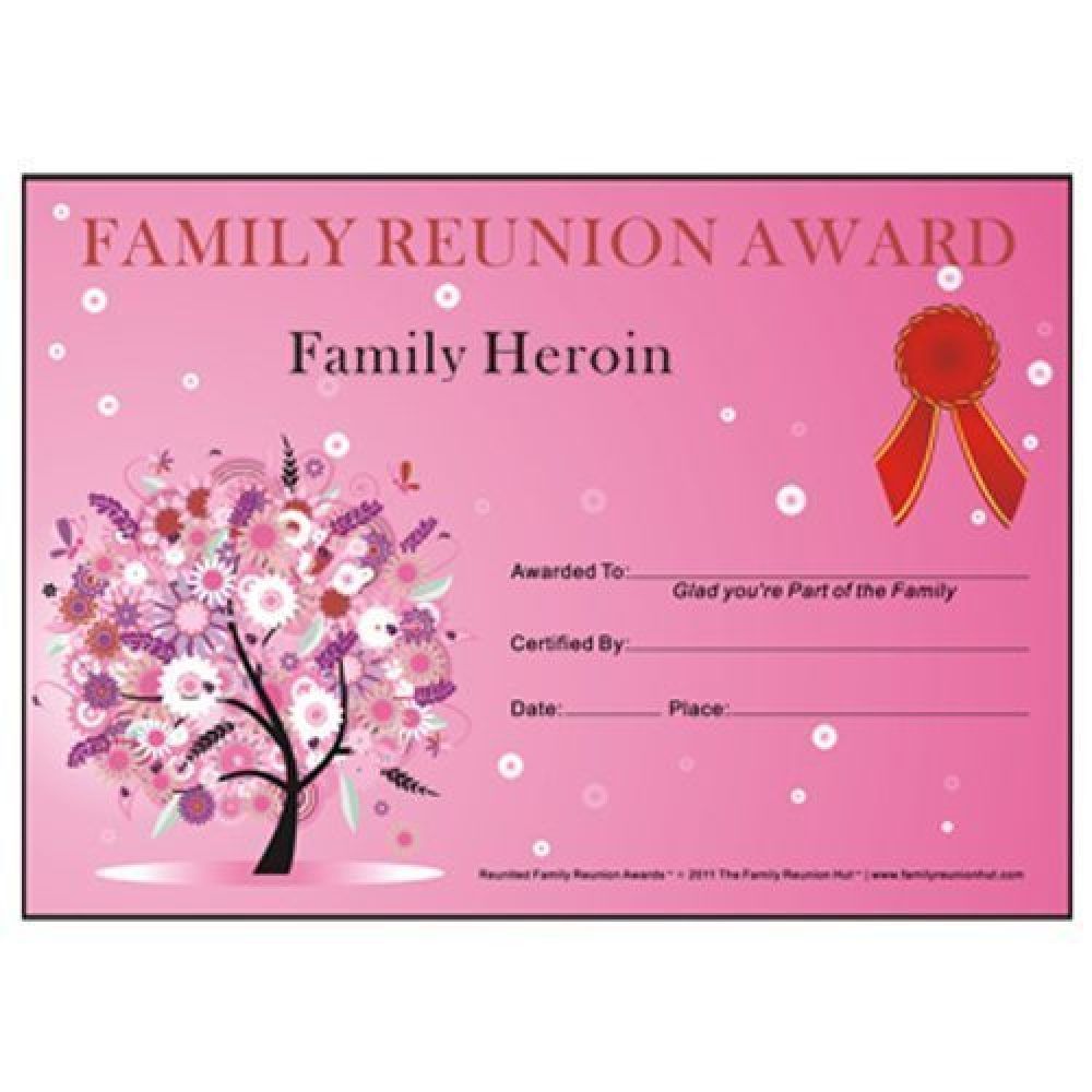 Award Certificates Archives - Family Reunion Hut - Reunion Basics - Free Printable Family Reunion Awards