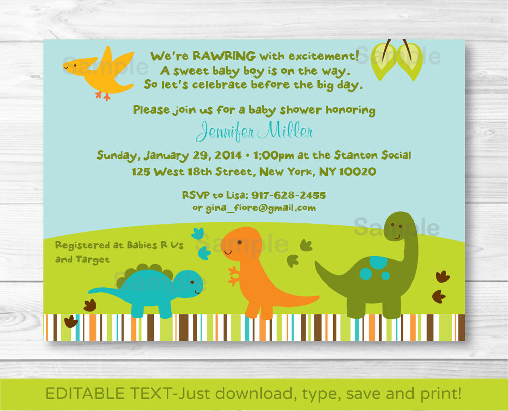 Baby Dinosaurs Printable Baby Shower Invitation Editable Free - Free Printable Dinosaur Baby Shower Invitations