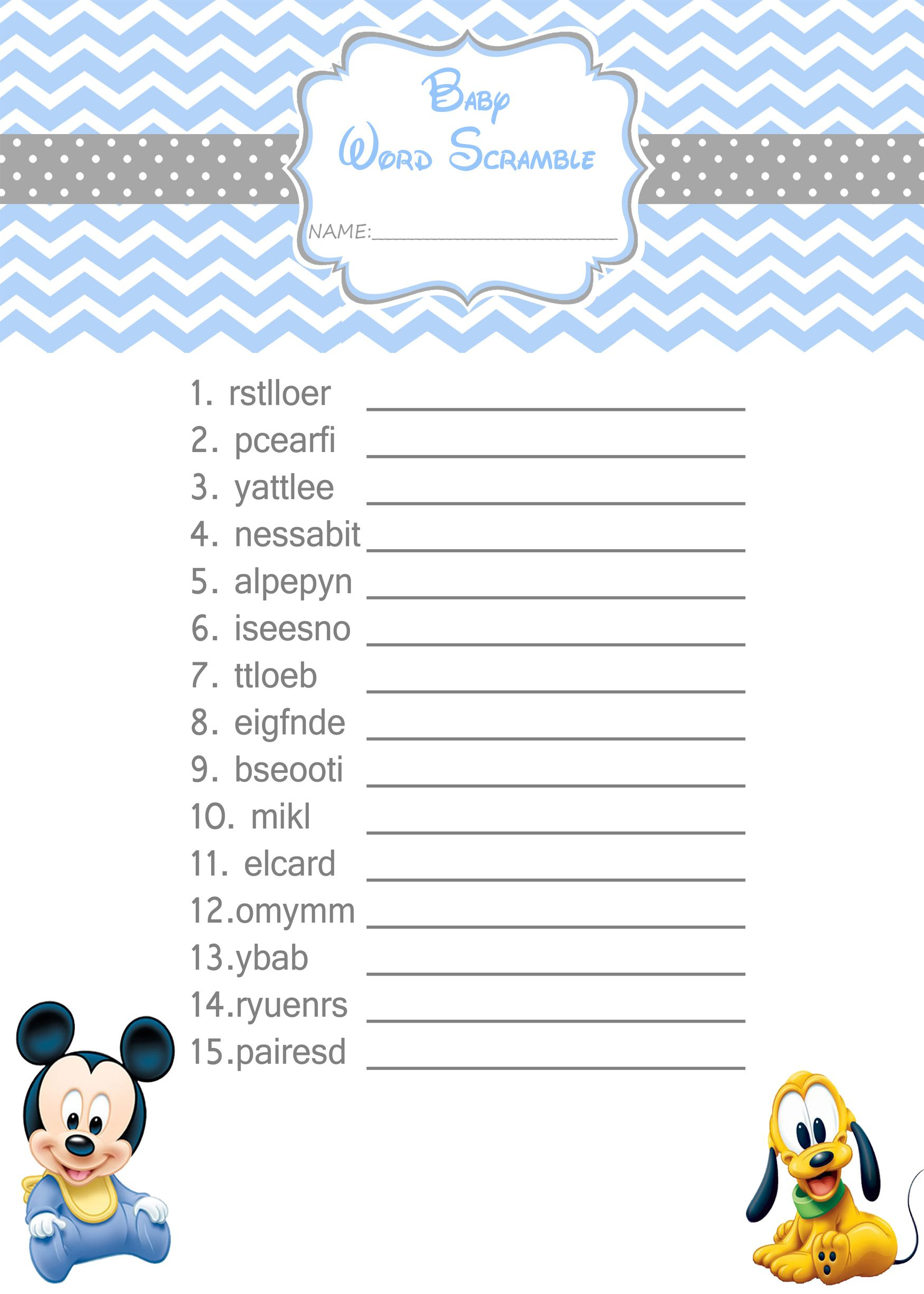 Baby Mickey Mouse Baby Shower Games - Word Scramble $3.99 | Baby - Free Printable Mickey Mouse Baby Shower Games