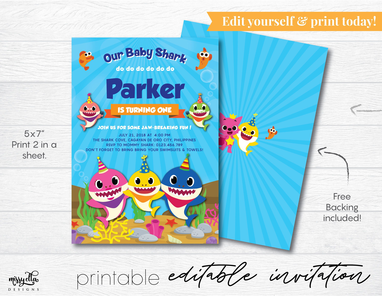 Baby Shark Invitation Editable Pdf, Digital Invitation, Baby Shark - Shark Invitations Free Printable