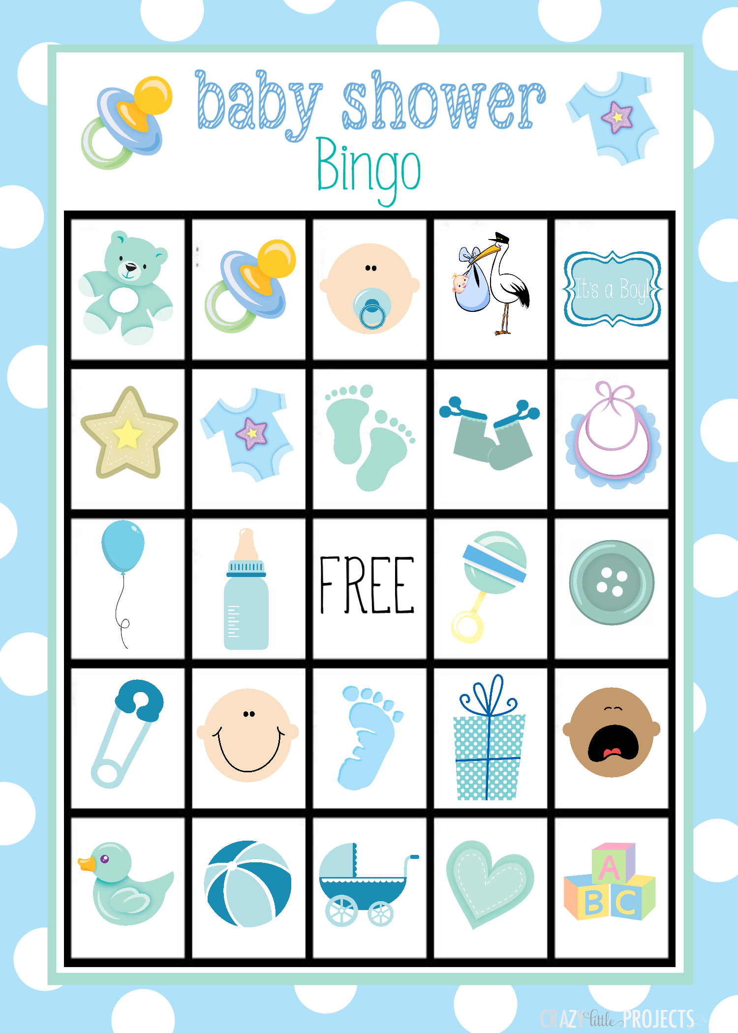 Baby Shower Bingo Cards - Baby Bingo Game Free Printable