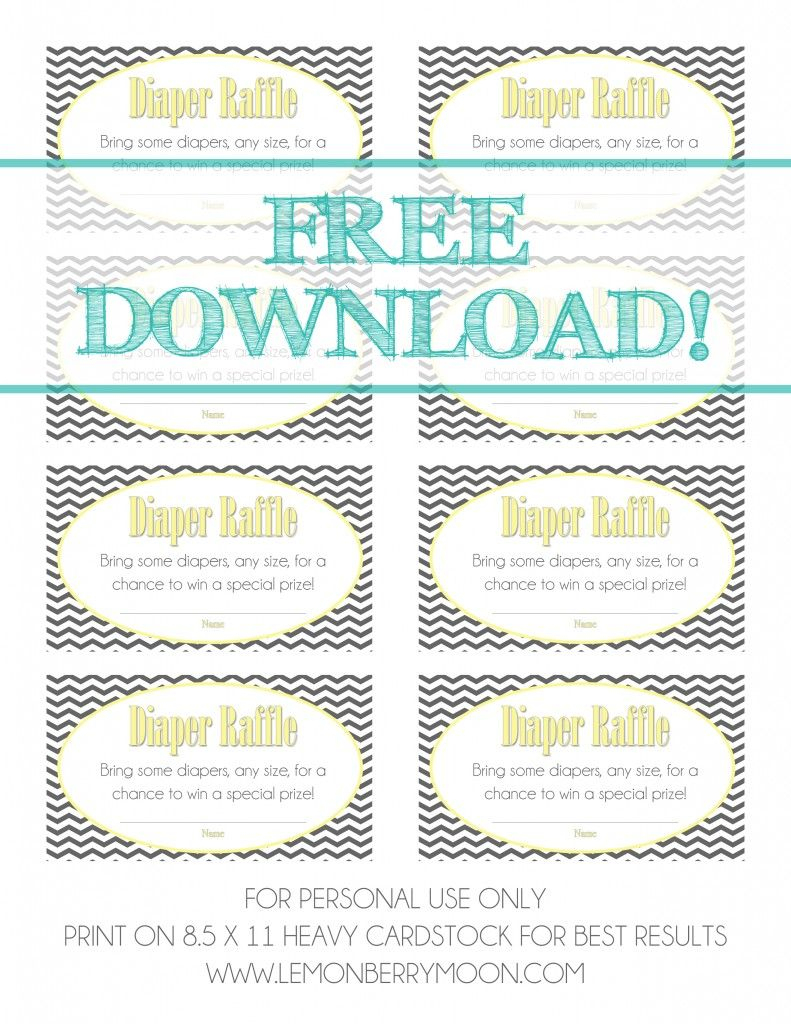 Baby Shower Diaper Raffle {Free Download} | Baby Shower | Pinterest - Free Printable Diaper Raffle Tickets Elephant