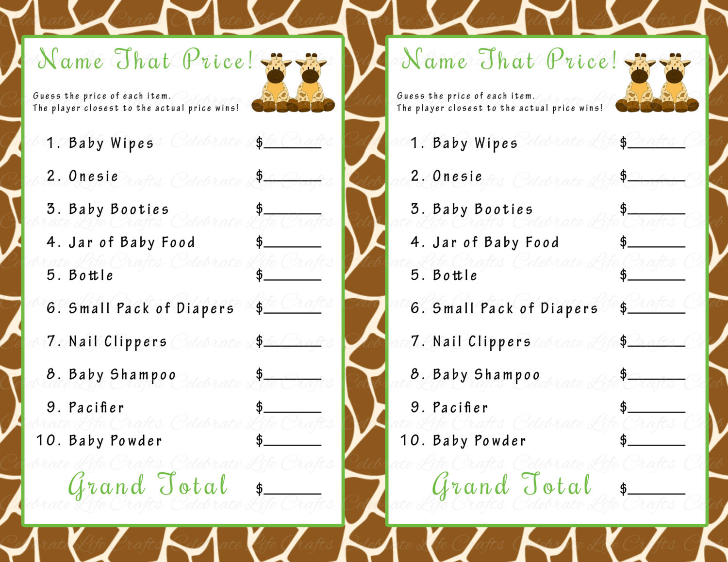 Baby Shower. Games For A Baby Shower: Baby Shower That Price Game - Free Printable Baby Shower Games For Twins