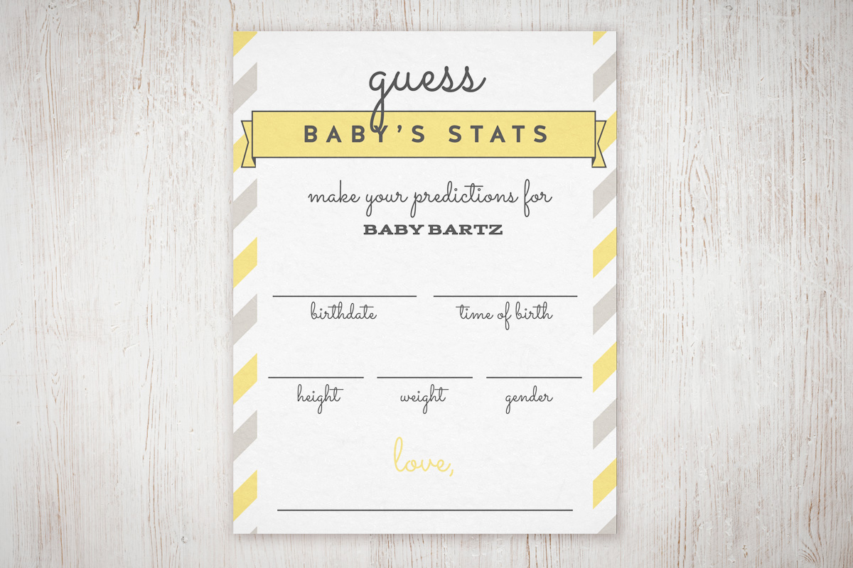 """Baby Shower """"guess The Stats"""" Free Printable 