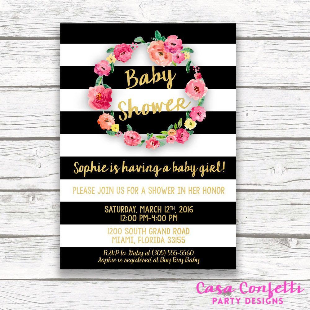 Baby Shower Invitation Girl Black And White Baby Shower | Etsy - Free Printable Black And White Baby Shower Invitations
