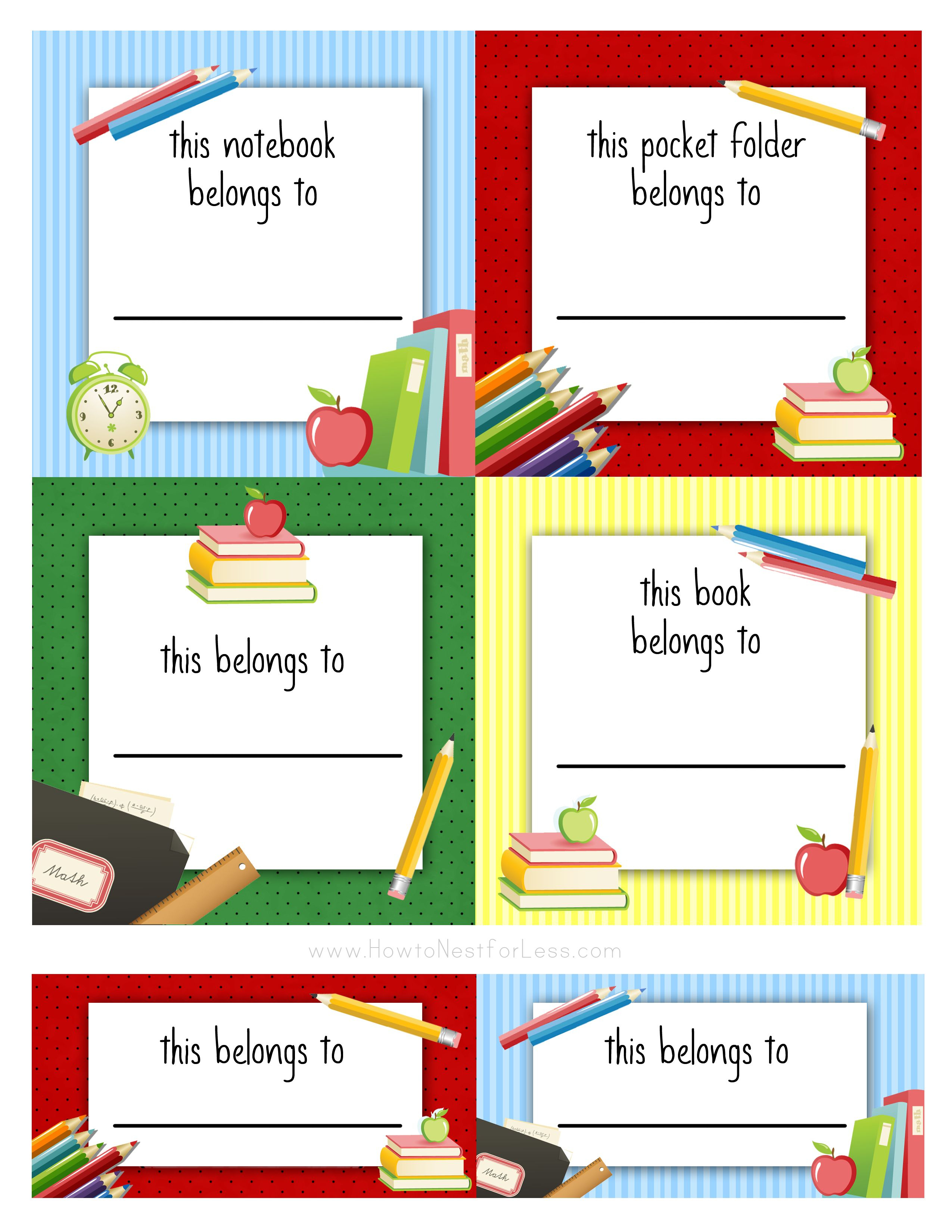 Back To School Labels For Kids | Frame And Border | Pinterest - Free Printable Name Tags For School Desks