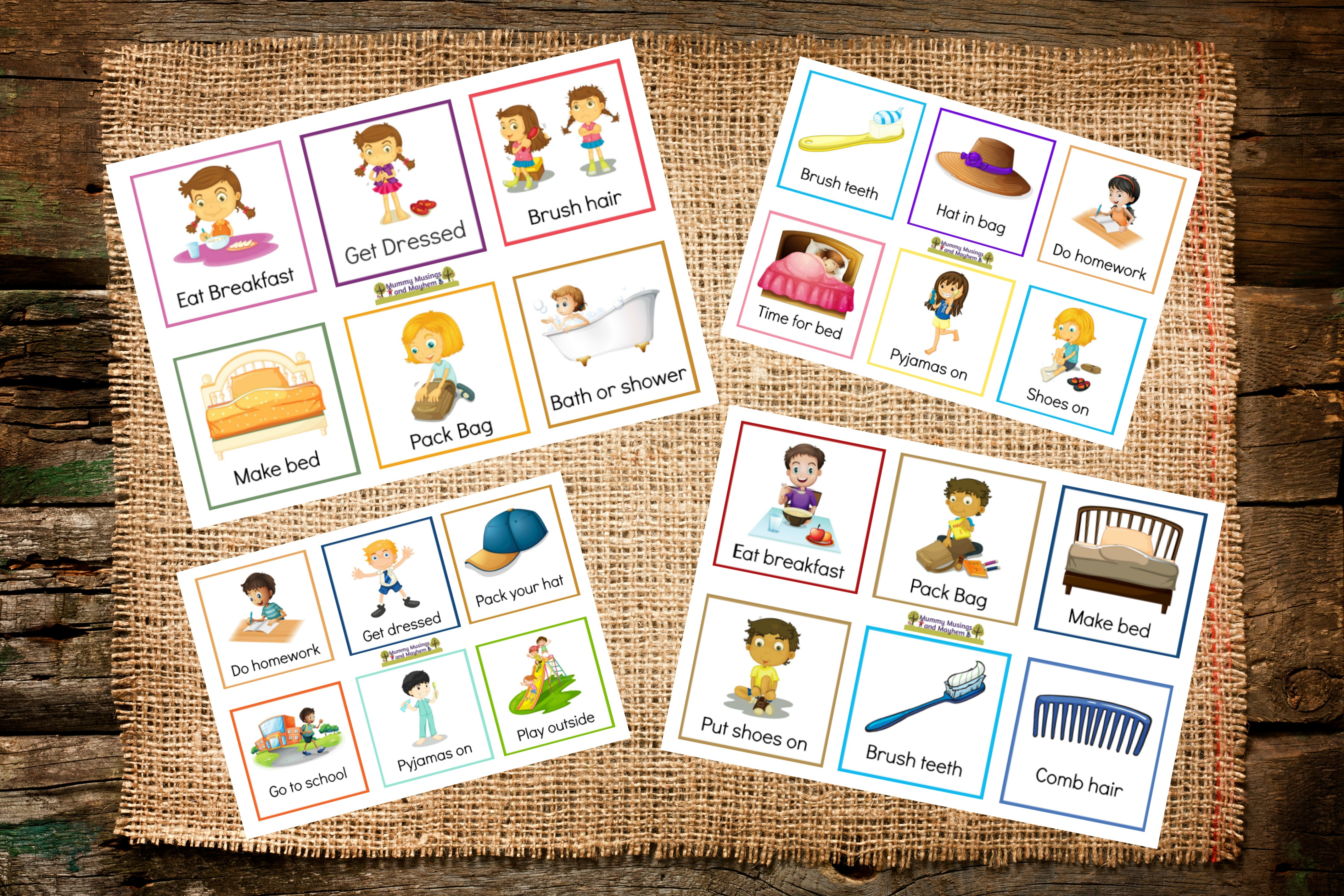 Back To School Routines - Free Printable Cards To Make It Easier - To Have And To Hold Your Hair Back Free Printable