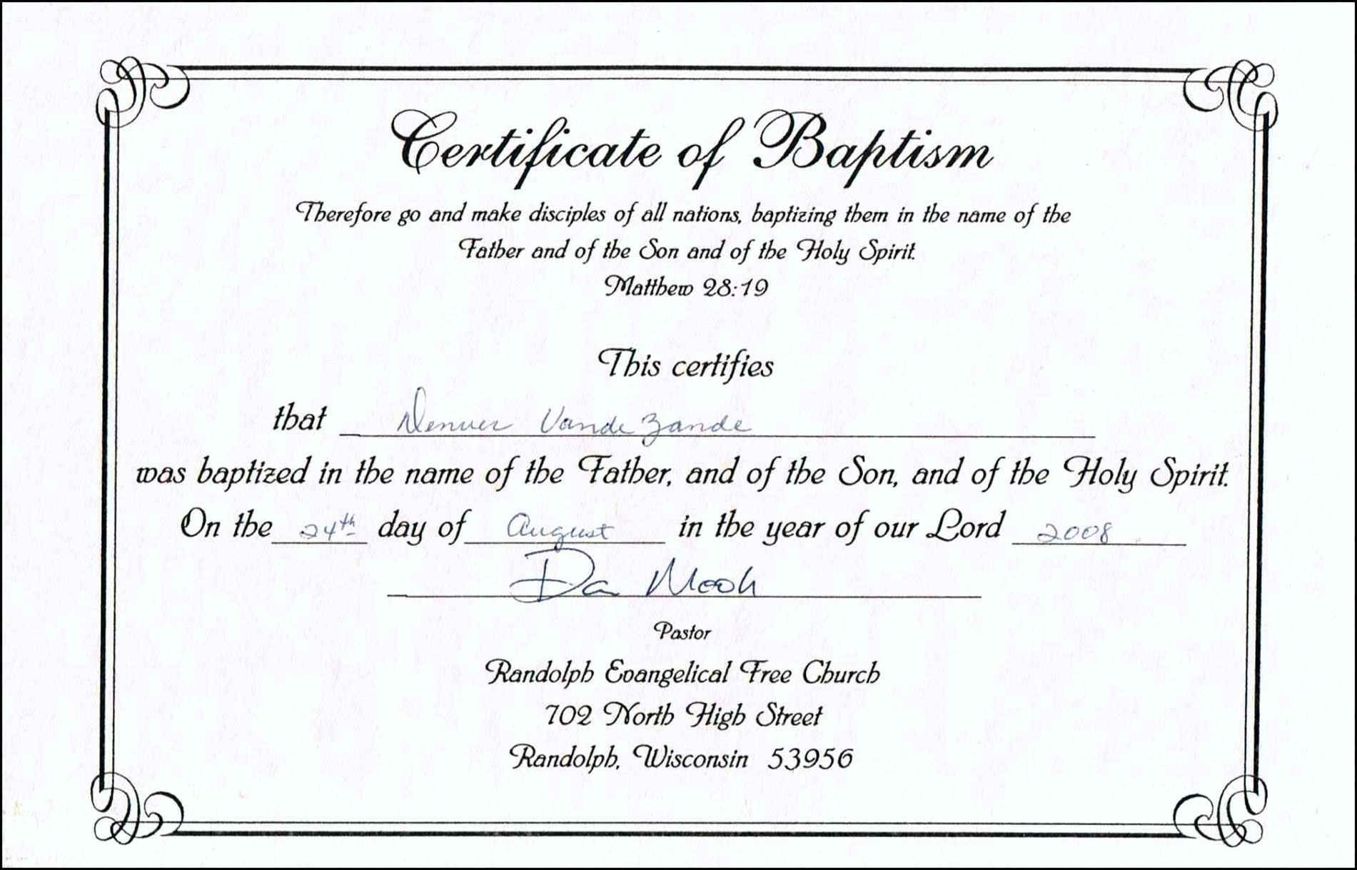Baptism Certificate Template Professional Free Download Catholic - Free Online Printable Baptism Certificates