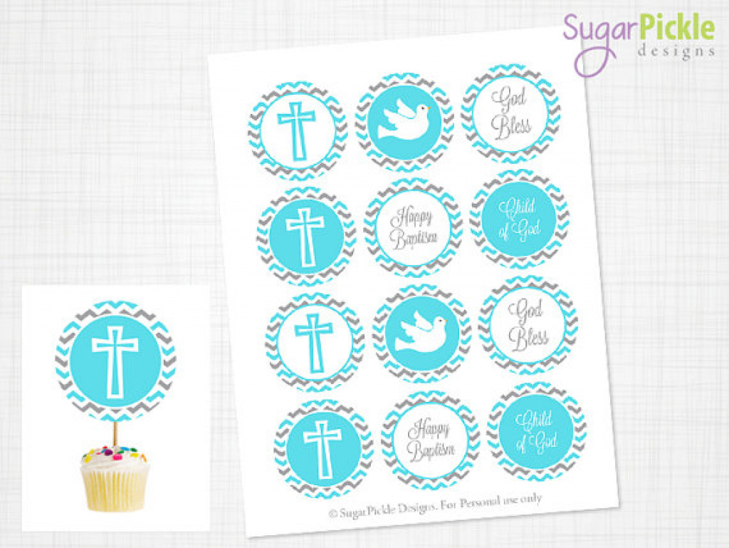 Baptism Cupcake Toppers, Baptism Toppers, Baptism Party Decorations - Baptism Cupcake Toppers Printable Free