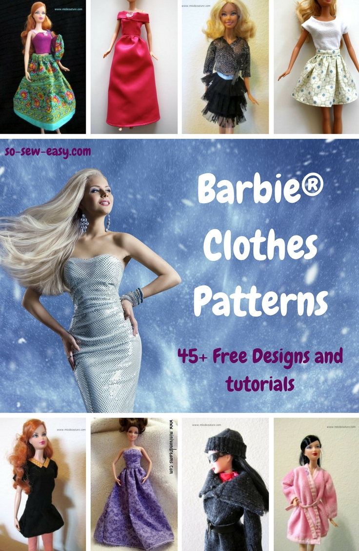 Barbie Clothes Patterns: 45+ Free Designs & Tutorials - So Sew Easy - Free Printable Barbie Doll Sewing Patterns Template
