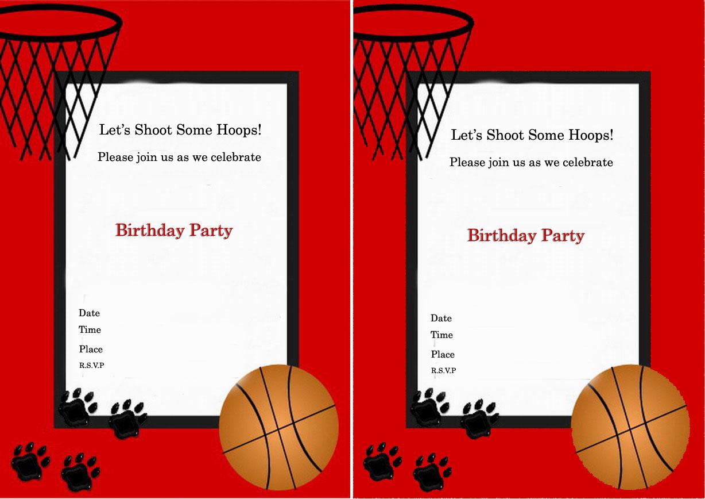 Basketball Birthday Party Invitations — Birthday Invitation Examples - Basketball Invites Free Printable