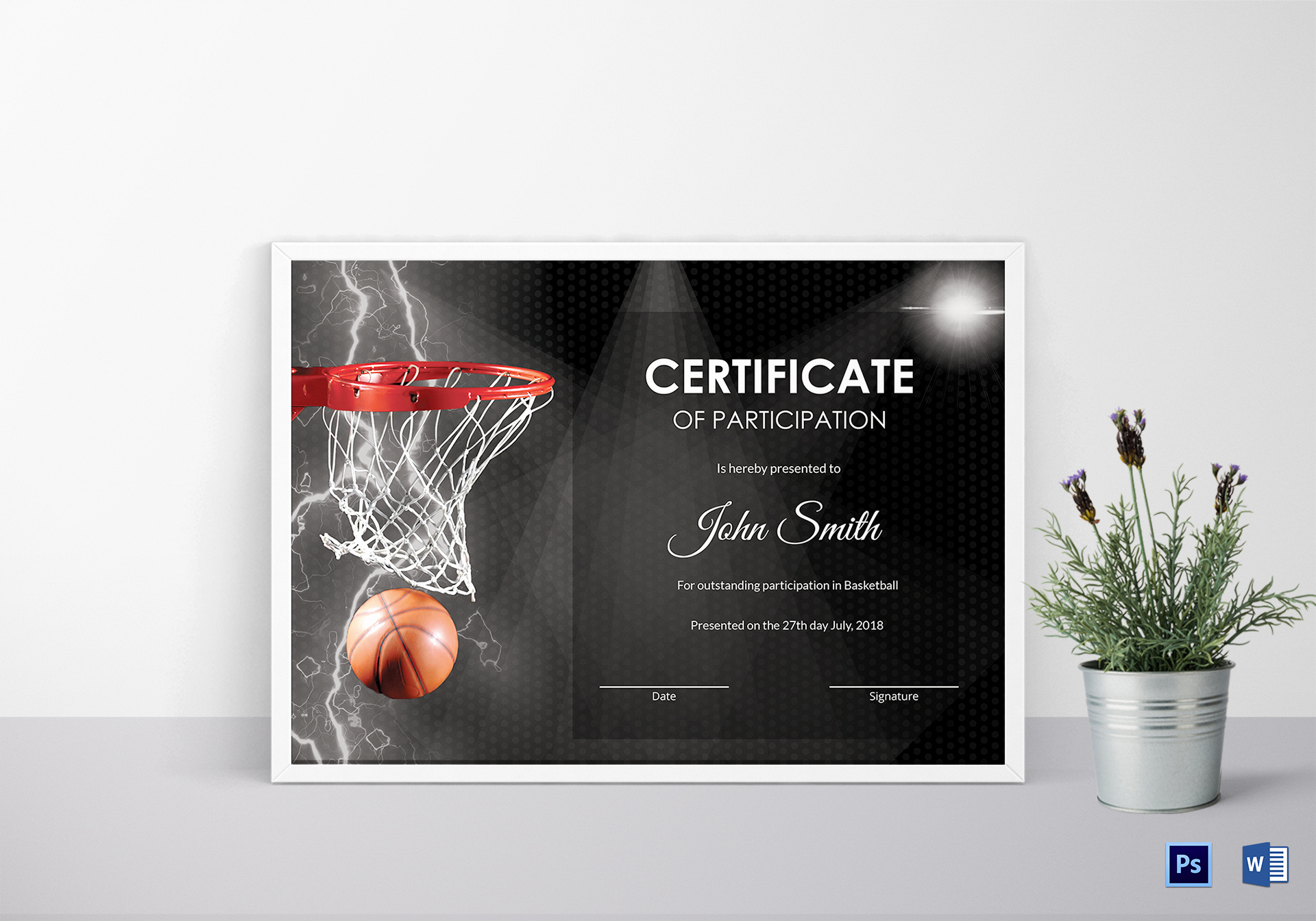 Basketball Participation Certificate Design Template In Psd, Word - Basketball Participation Certificate Free Printable