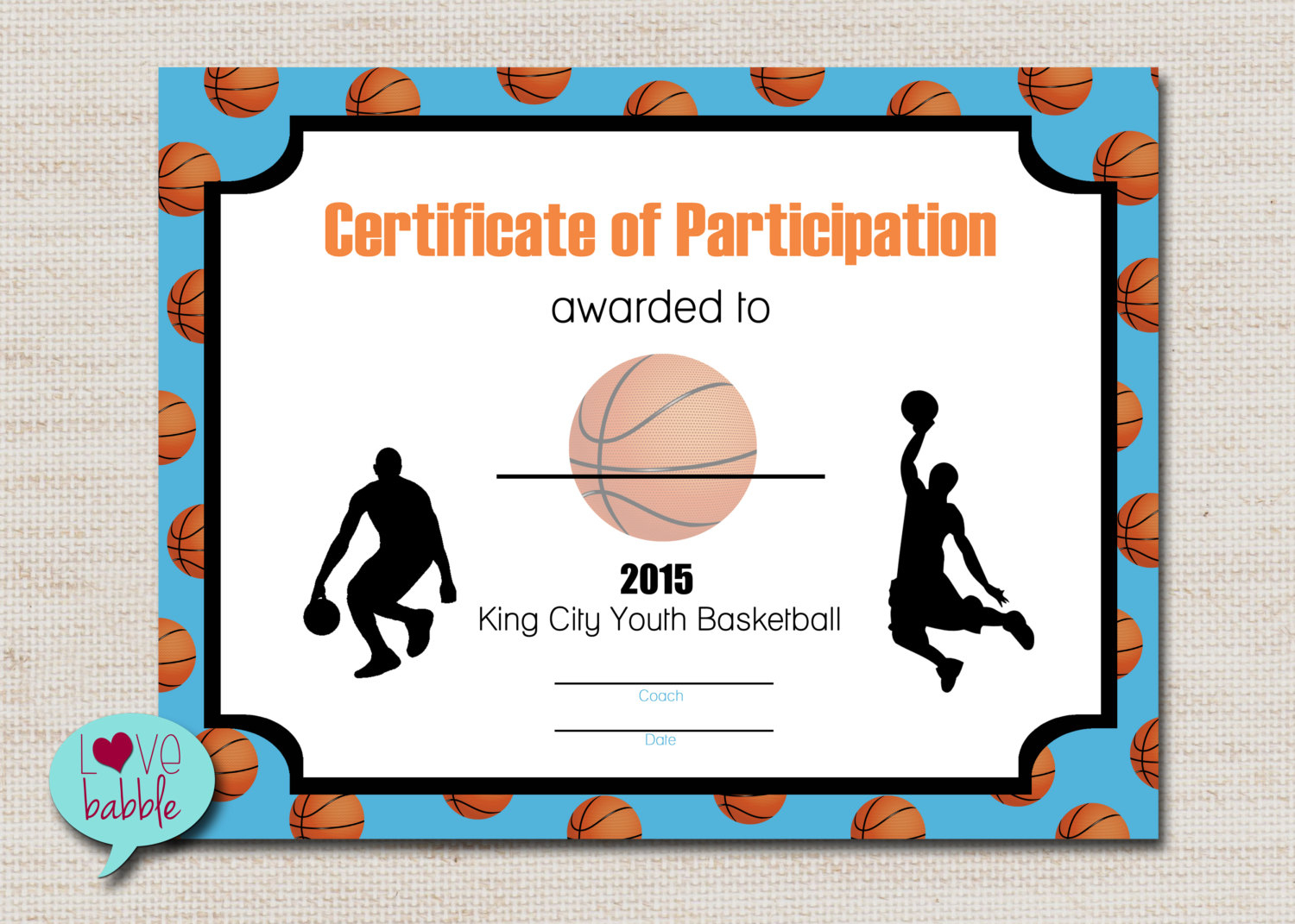 Basketball Sports Award Certificate 8.5 X 11 Printable Digital | Etsy - Basketball Participation Certificate Free Printable