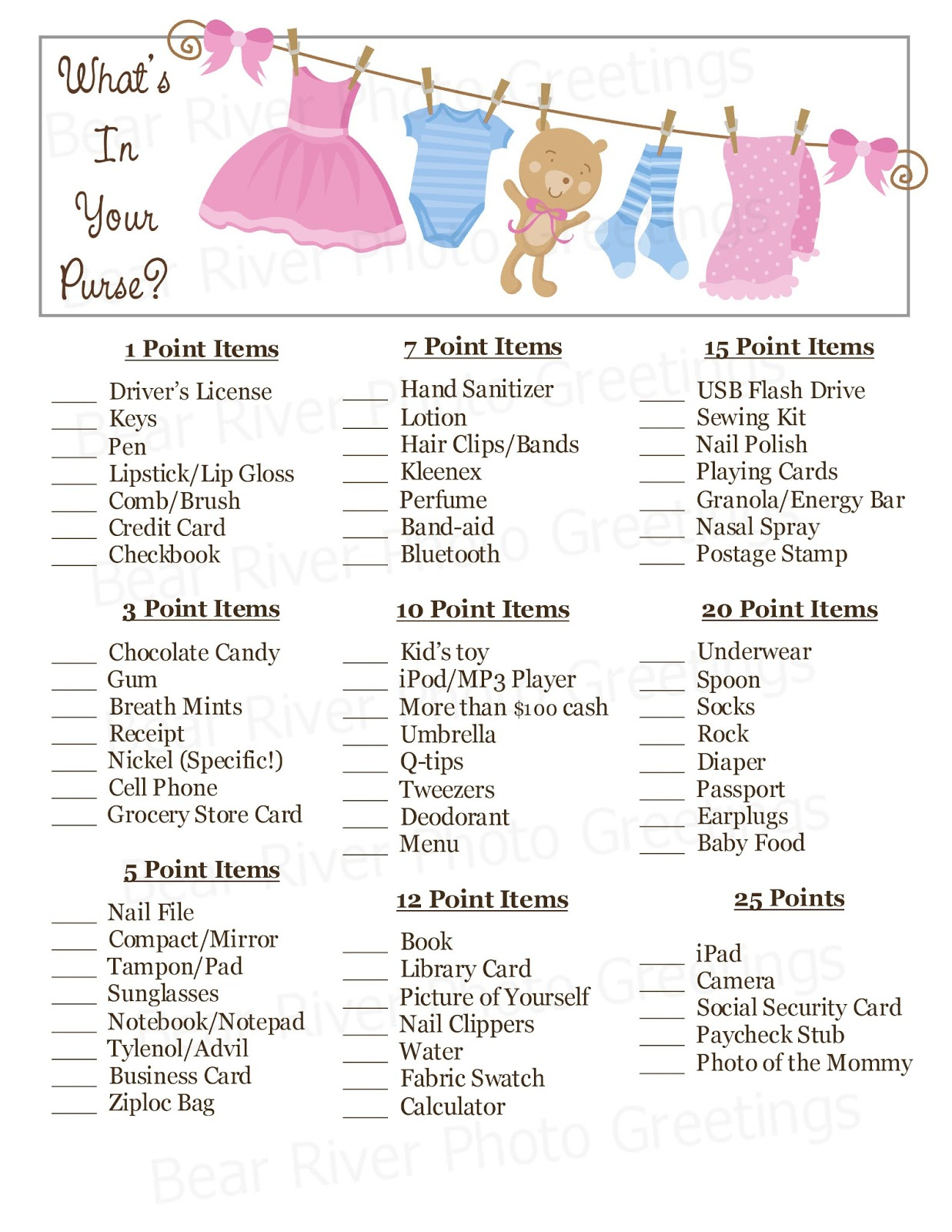 Bear River Photo Greetings: 2013 - Free Printable What's In Your Purse Game