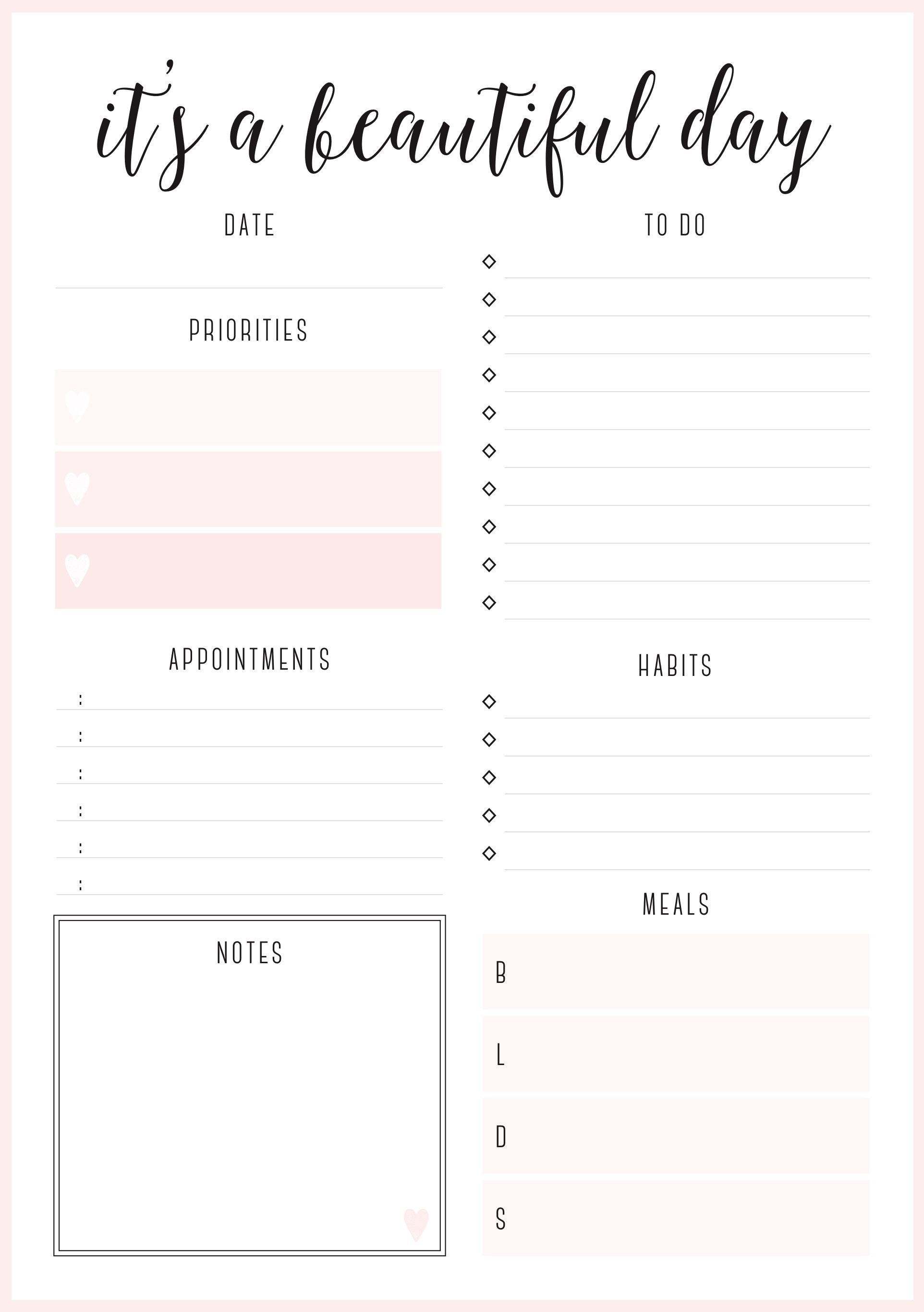 Beautiful Daily Planners - Free Printables   Planner Pages - Free Printable Daily Planner