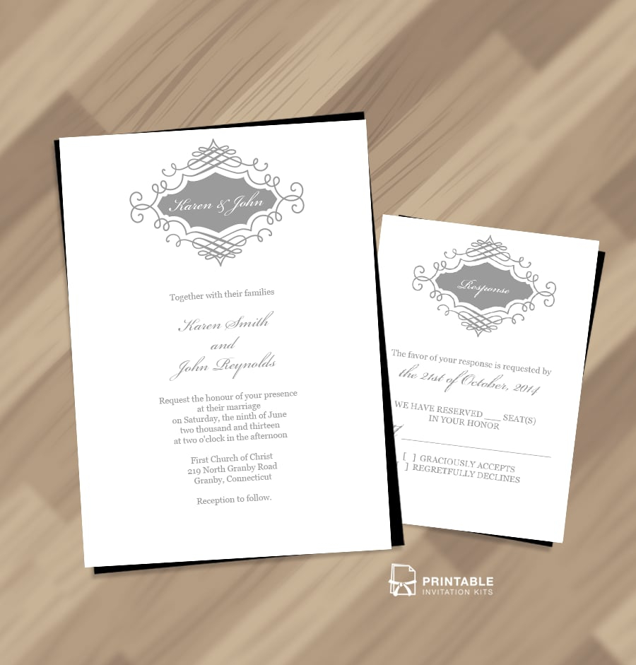 Beautiful Wedding Monogram Invitation | Free Printable Wedding - Free Printable Wedding Invitation Kits