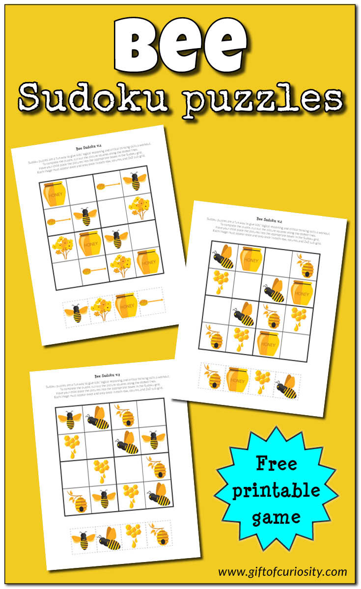 Bee Sudoku {Free Printable} - Gift Of Curiosity - Free Printable Critical Thinking Puzzles