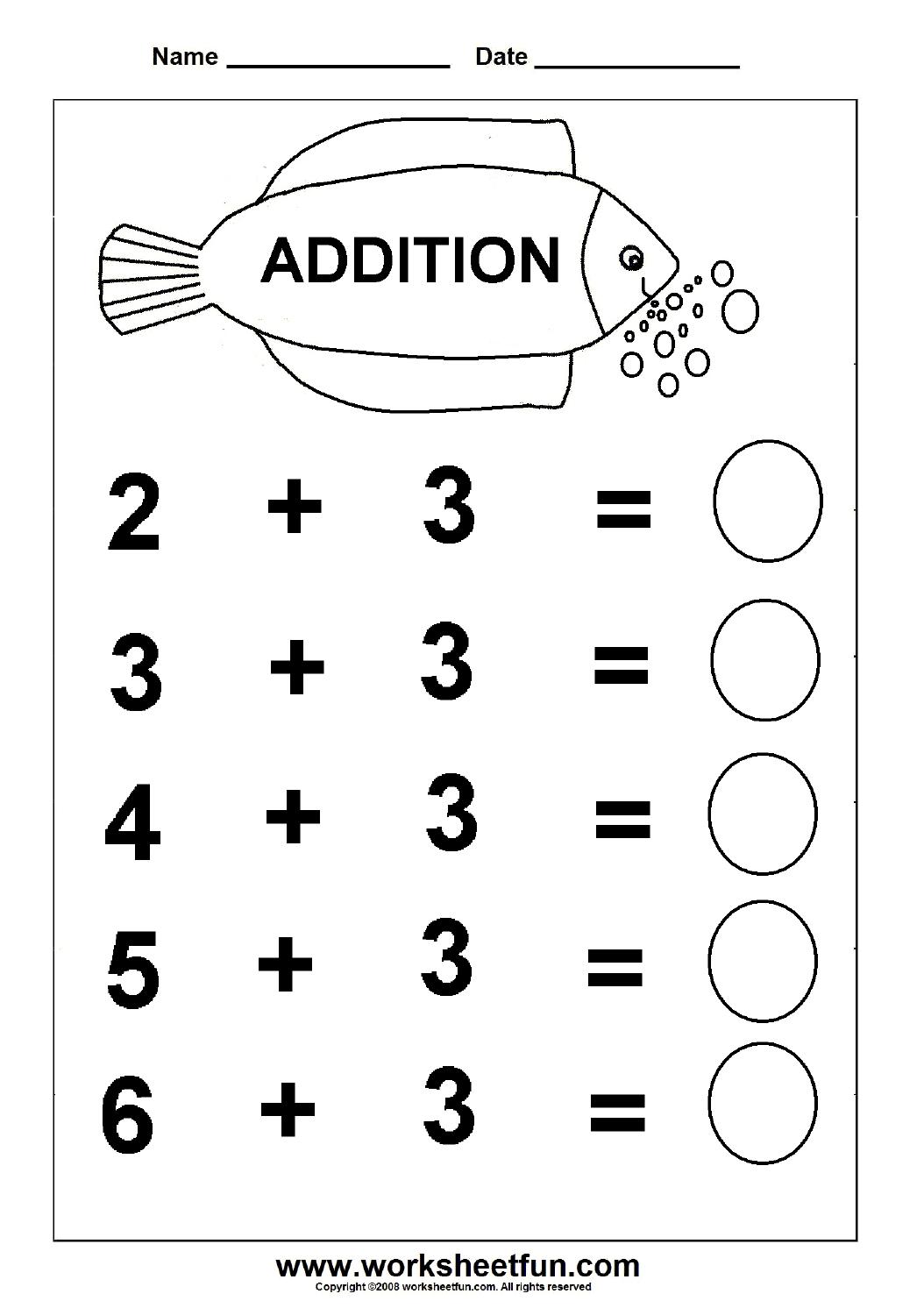Beginner Addition – 6 Kindergarten Addition Worksheets / Free - Free Printable Kindergarten Addition And Subtraction Worksheets