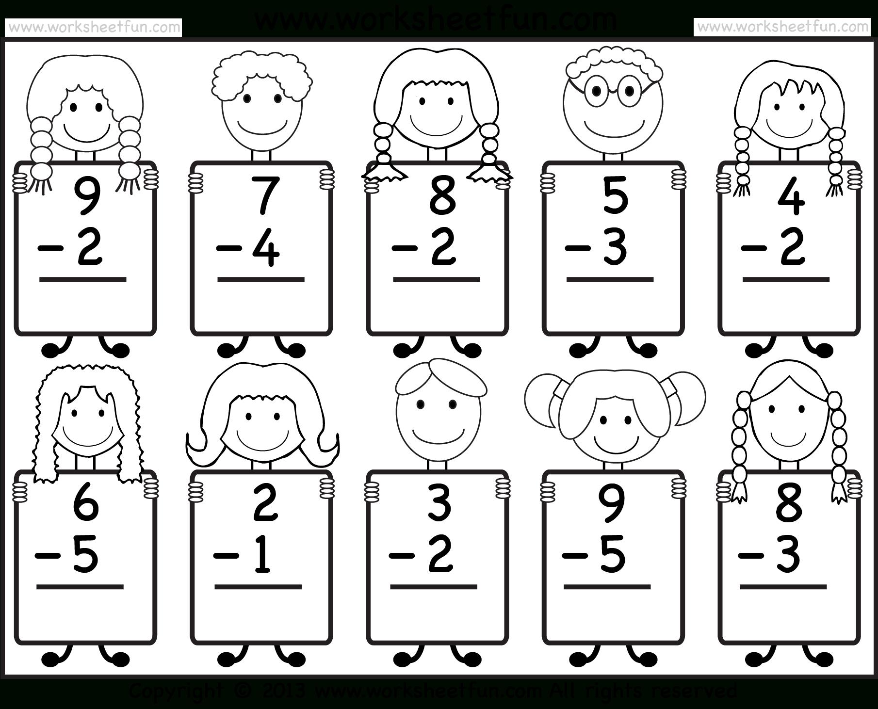 Beginner Subtraction – 10 Kindergarten Subtraction Worksheets / Free - Free Printable Kindergarten Addition And Subtraction Worksheets