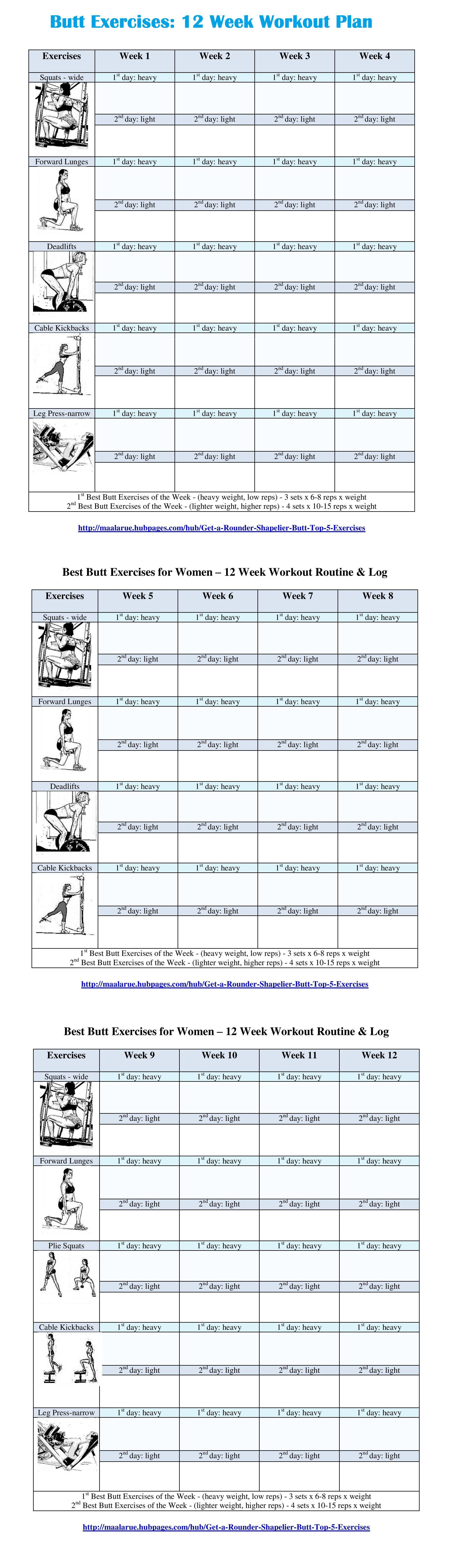 Best Butt Workouts For Women - Free Printable 12 Week Butt Workout Plan - Free Printable Gym Workout Routines