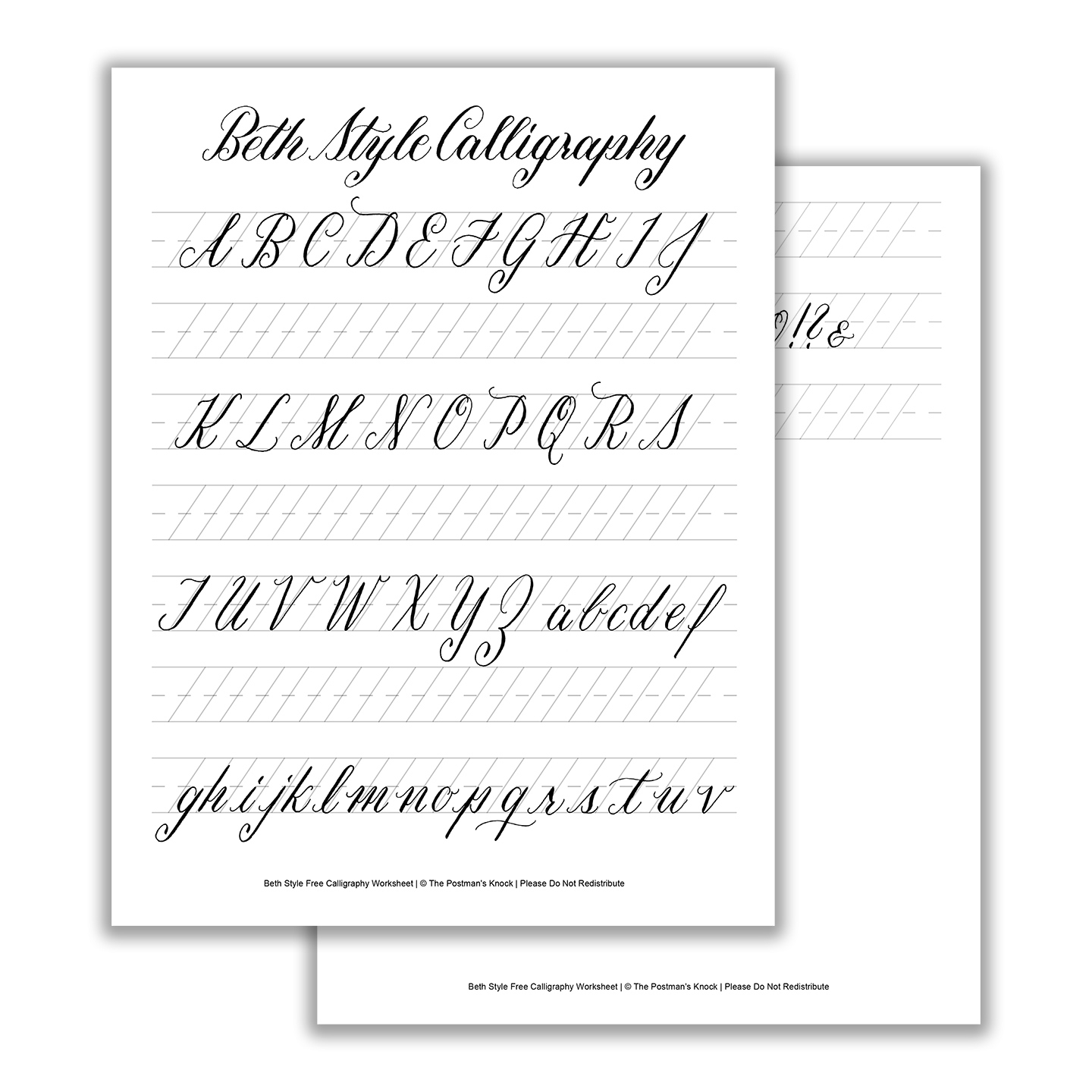 Beth Style Calligraphy Standard Worksheet | The Postman's Knock - Calligraphy Practice Sheets Printable Free