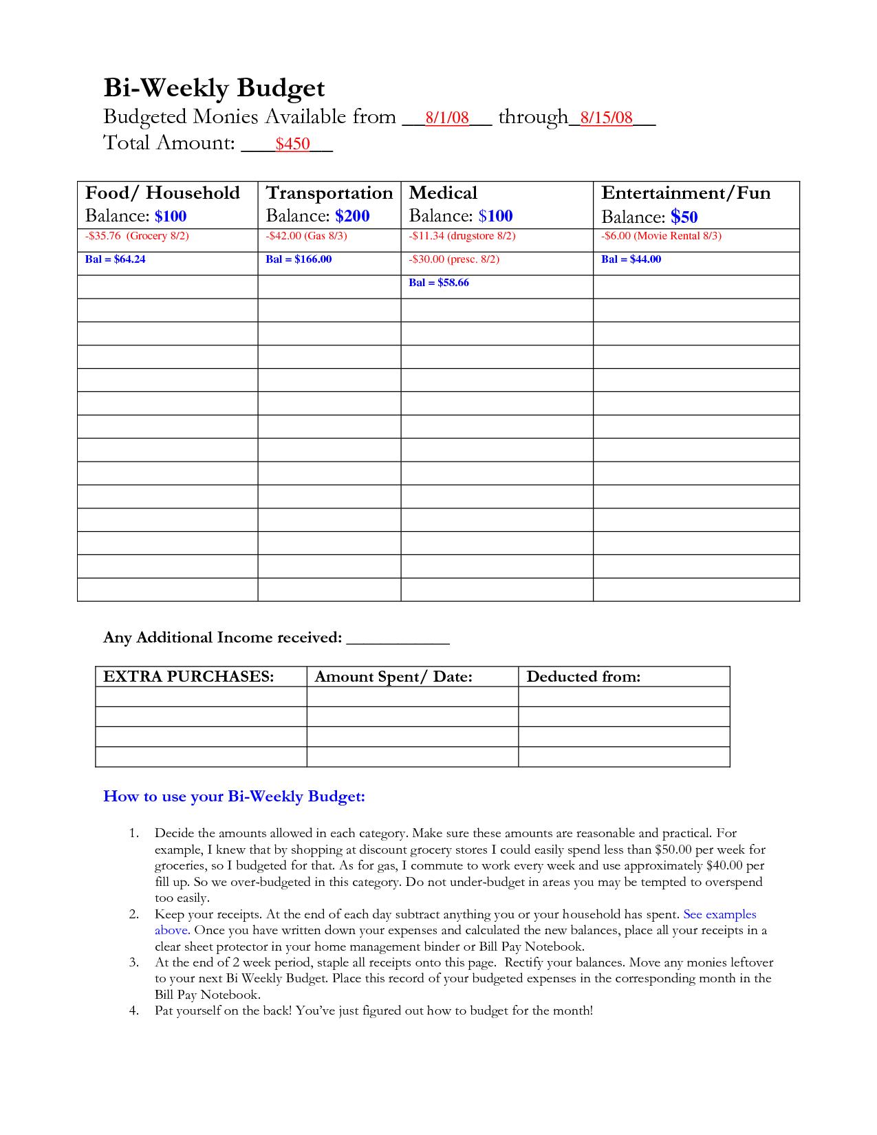 Bi Weekly Budget Calculator Spreadsheet Bonfires And Wine Livin - Free Printable Bi Weekly Budget Template