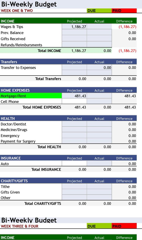 Bi Weekly Budget Planner Printable Software Pdf App Check Templates - Free Printable Bi Weekly Budget Template