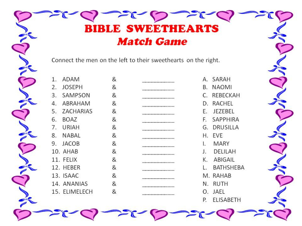 Bible Sweethearts Match Game - Pinson Baptist Church Pertaining To - Free Printable Bible Games For Youth
