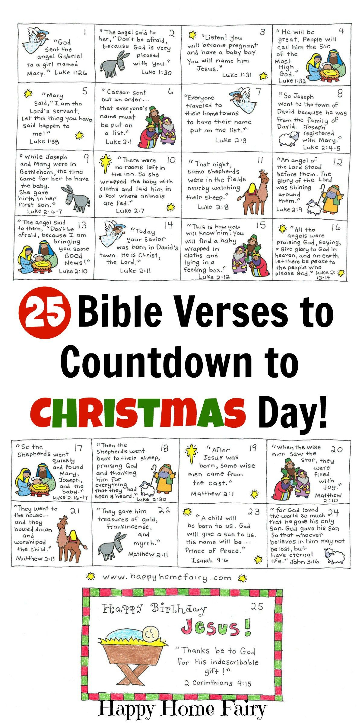 Bible Verse Advent Countdown For Kids - Free Printable | Christmas - Free Printable Nativity Story