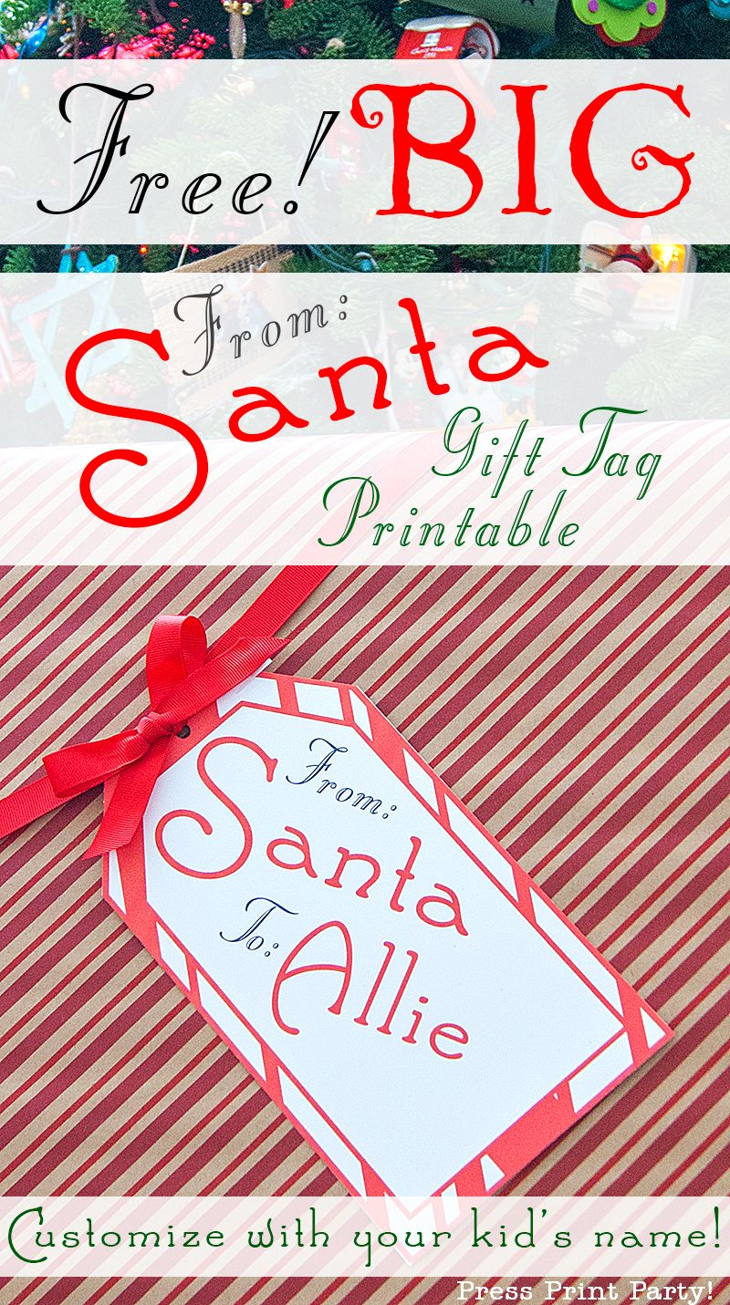 Big Free Printable Christmas Gift Tag - Press Print Party - Free Printable Gift Name Tags