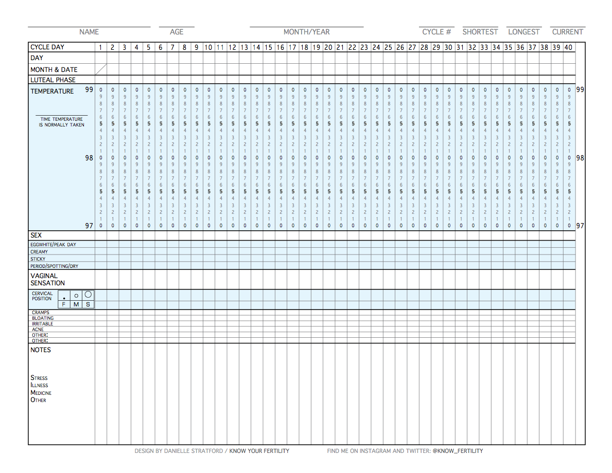 Big Hug Little Kiss: How To Chart Using The Fertility Awareness - Free Printable Fertility Chart