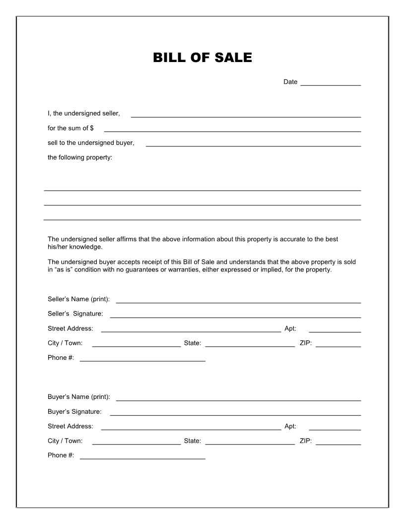 Bill Of Sale Georgia Trailer And Free Printable Bill Of Sale - Free Printable Generic Bill Of Sale
