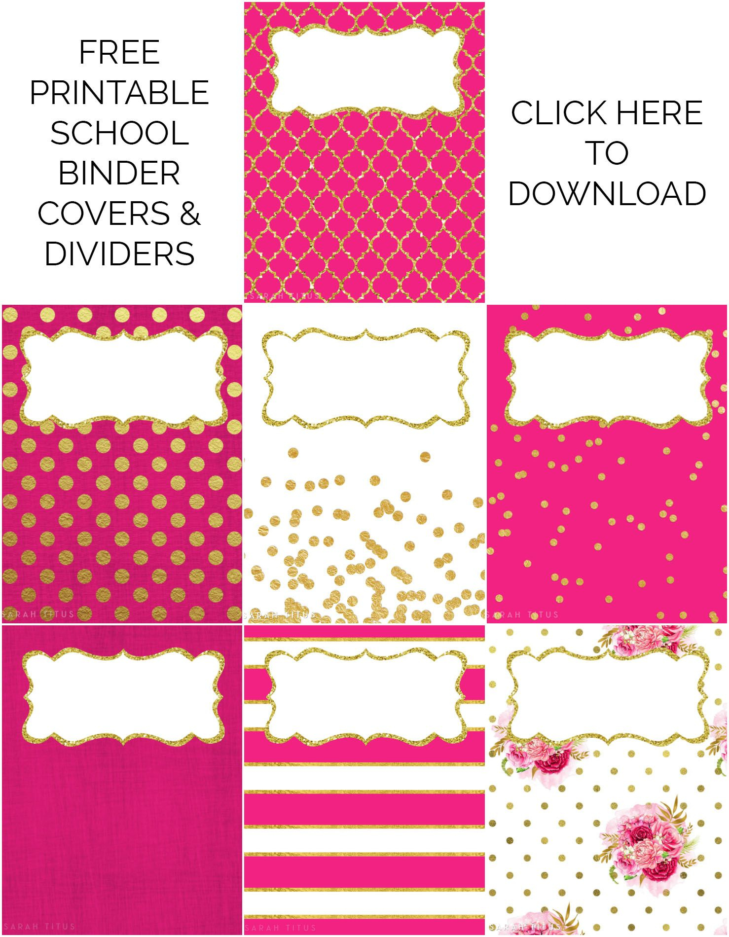 Binder Covers / Dividers Free Printables   Plans   Binder Covers - Free Printable School Binder Covers