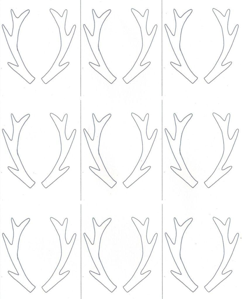 Birch Slice Antler Ornaments + Printable   Reindeer   Ornaments - Reindeer Antlers Template Free Printable