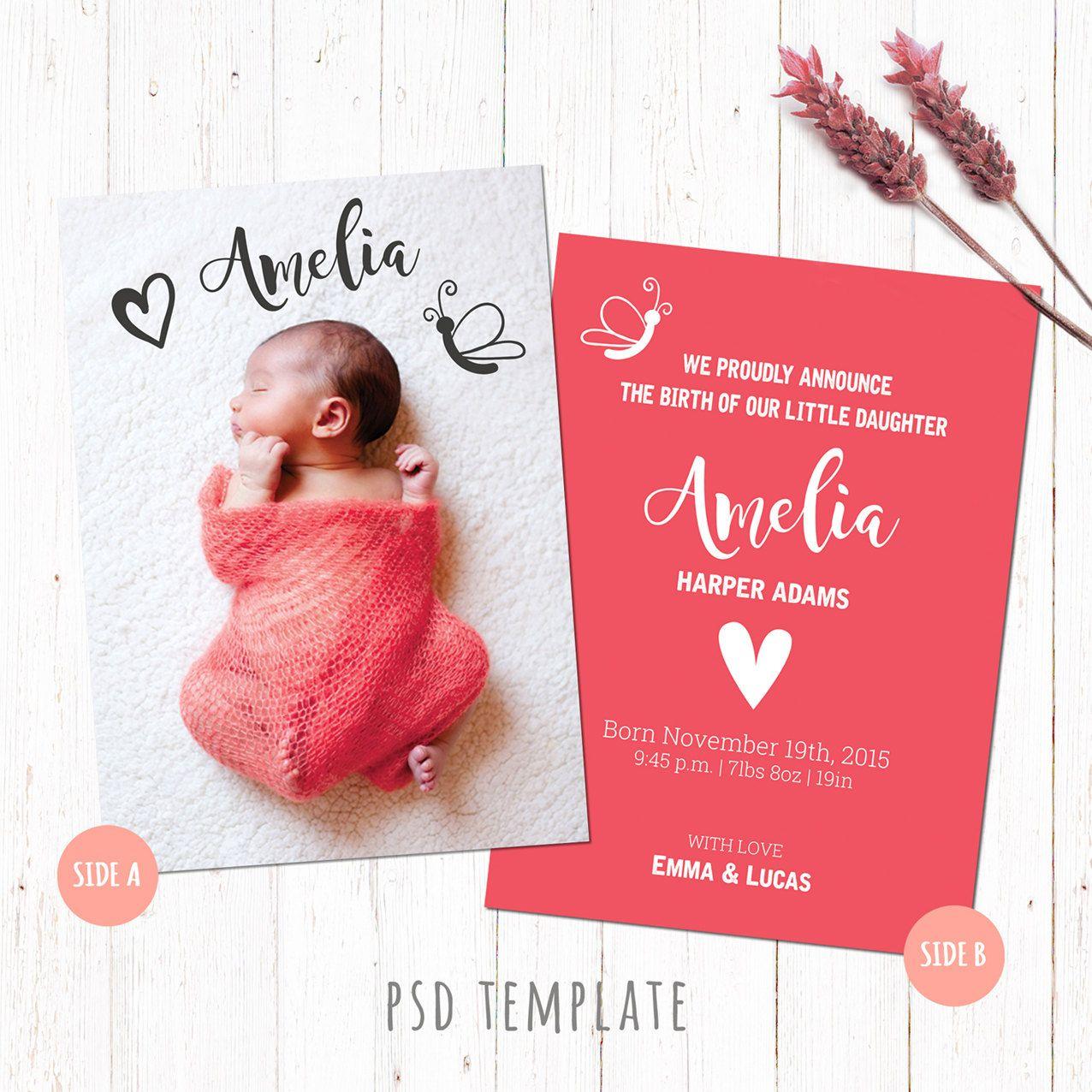 Birth Announcement Template Card. Baby Girl Birth Card. Newborn Card - Free Printable Baby Birth Announcement Cards
