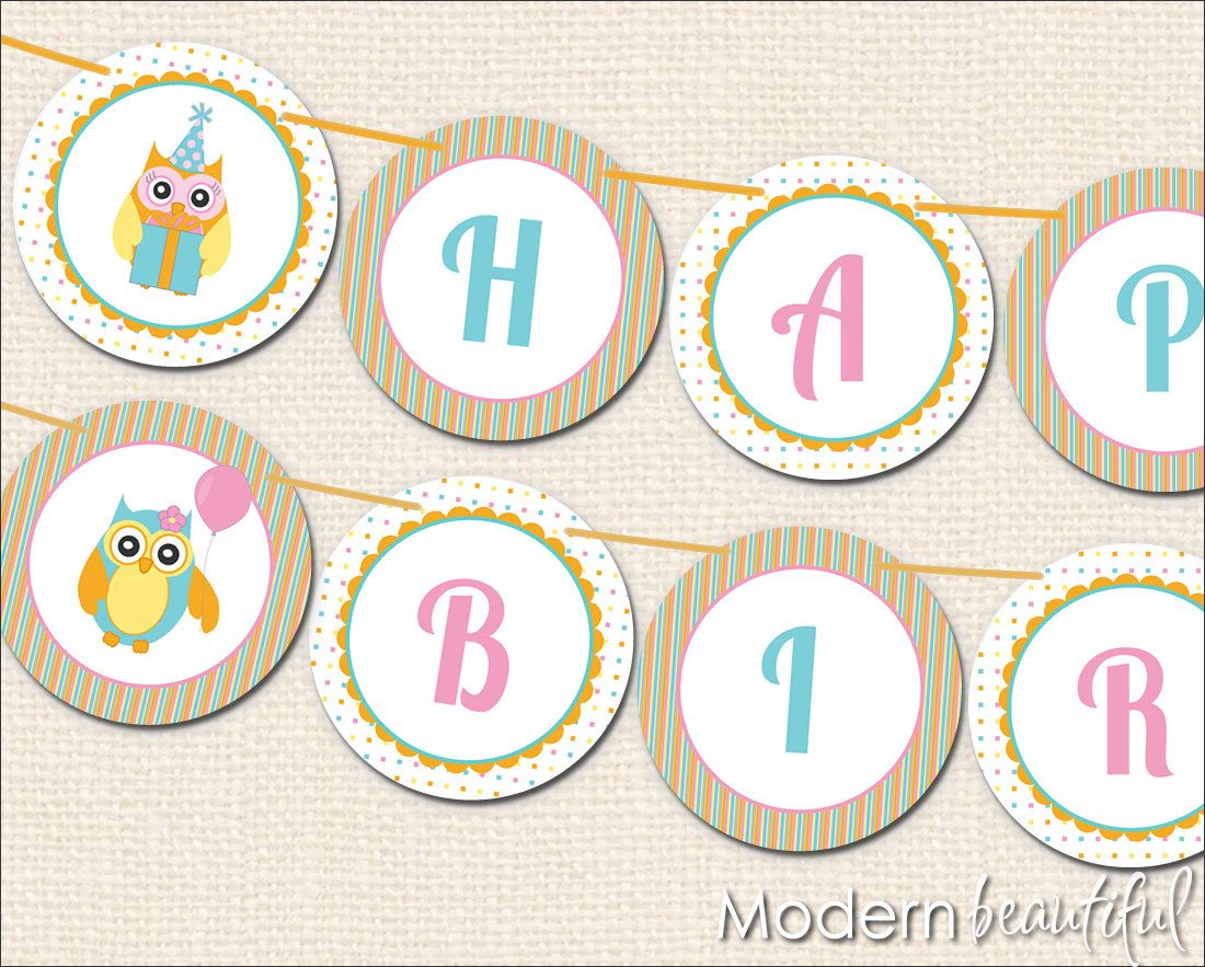 Birthday Banner Printable Free | Owl Party Printable Happy Birthday - Free Printable Happy Birthday Banner