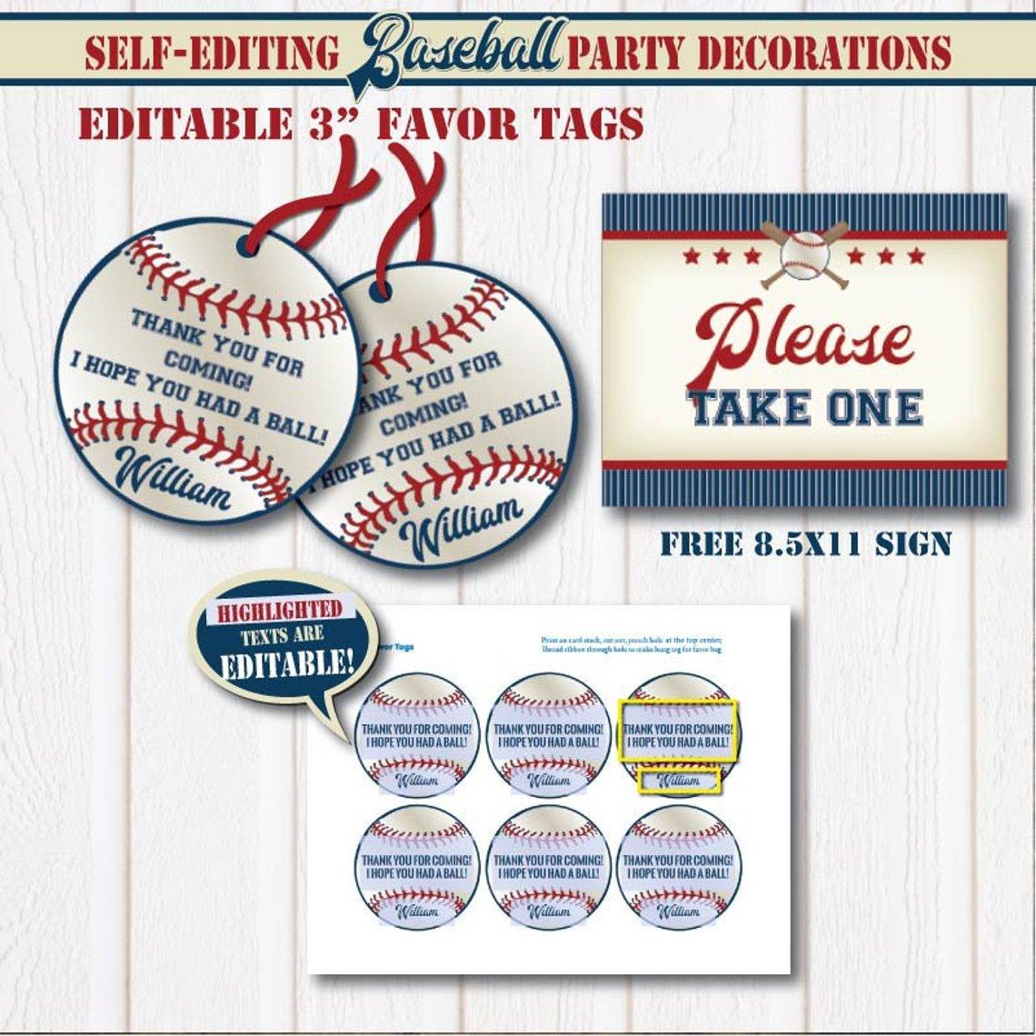 Birthday Baseball Favor Tags Free Printable | Www.topsimages - Free Printable Baseball Favor Tags