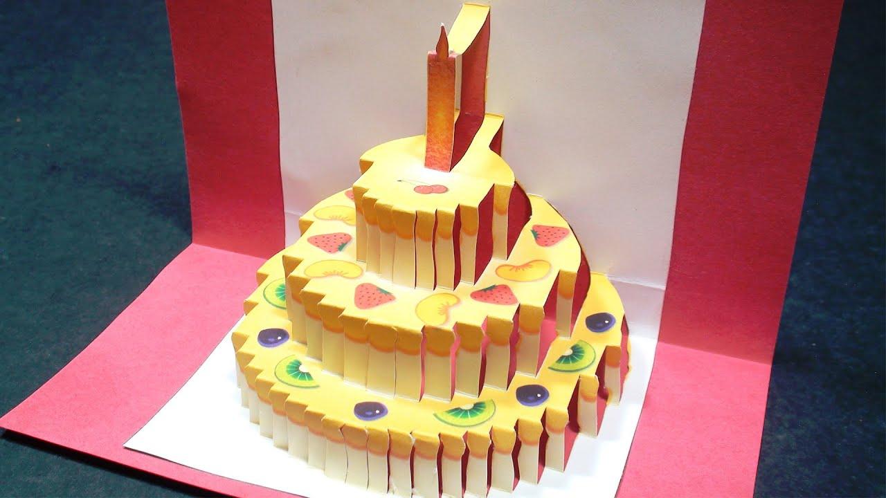Birthday Cake Pop Up Card (Happy Birthday Kirigami)   Free Template - Free Printable Kirigami Pop Up Card Patterns