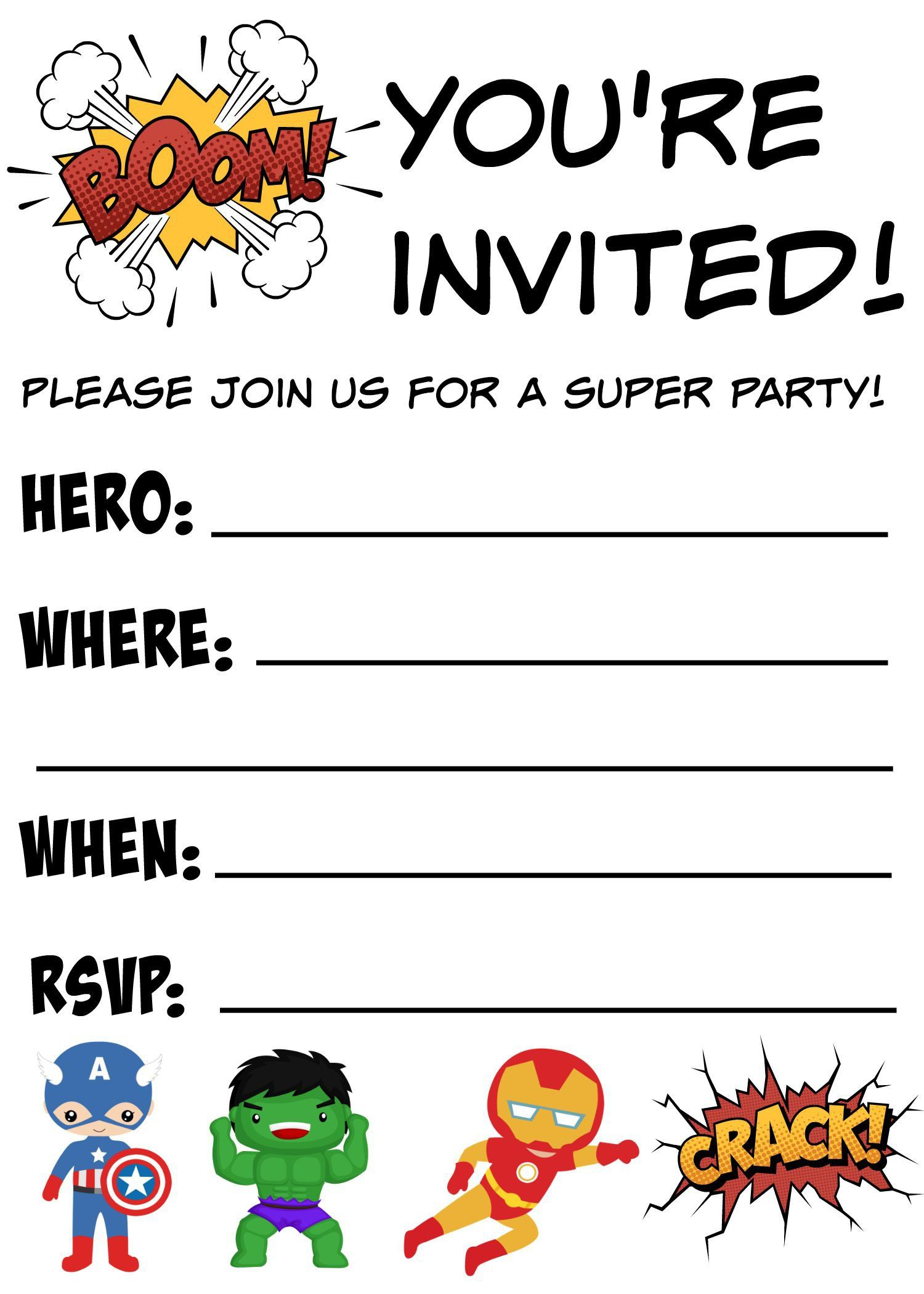 Birthday-Invitations-Free-Printable | Birthday Invitations Template - Free Printable Superhero Birthday Invitation Templates