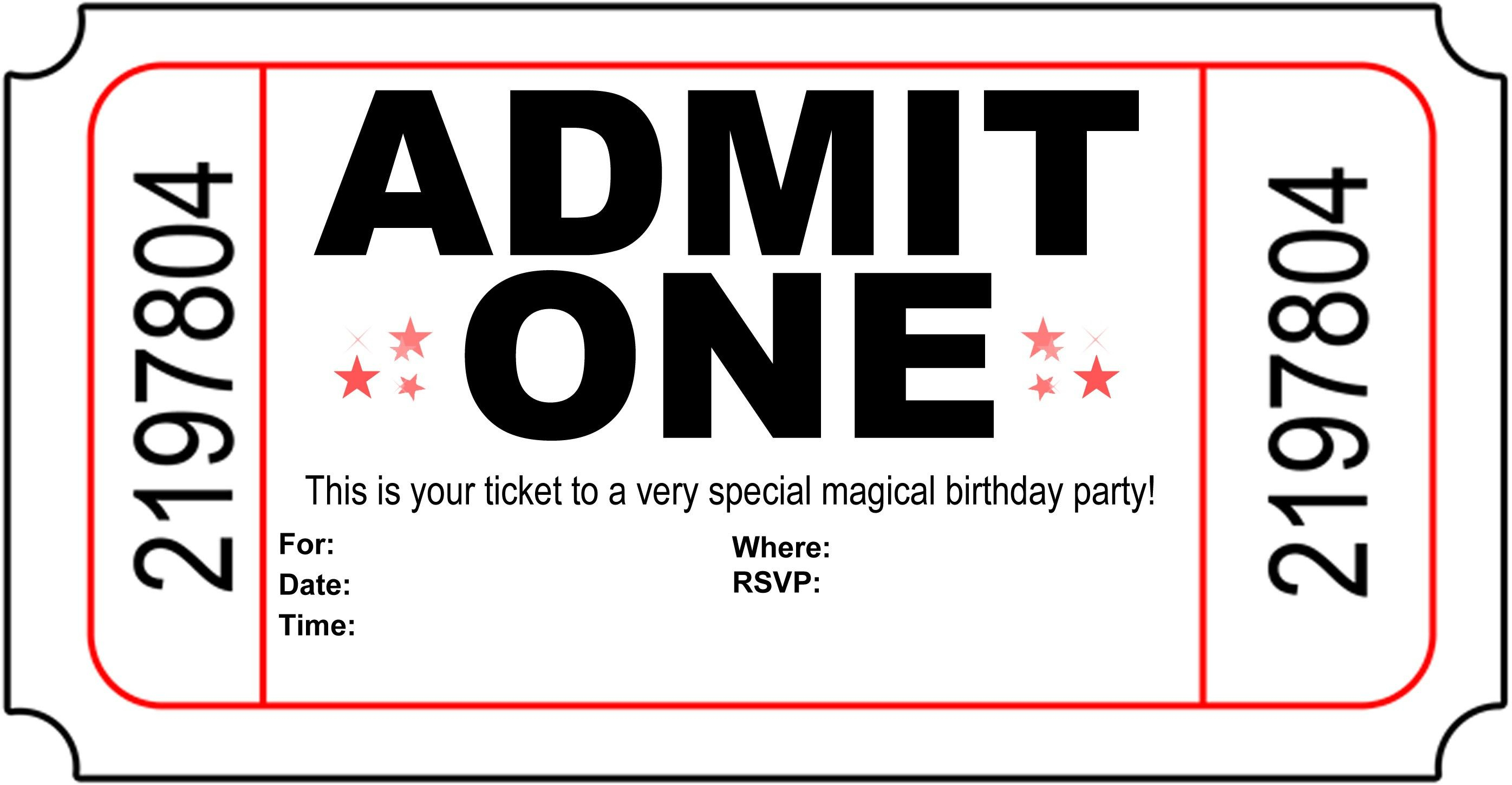 Birthday Party Invitation Free Printable | Printshop. | Pinterest - Free Printable Movie Ticket Birthday Party Invitations