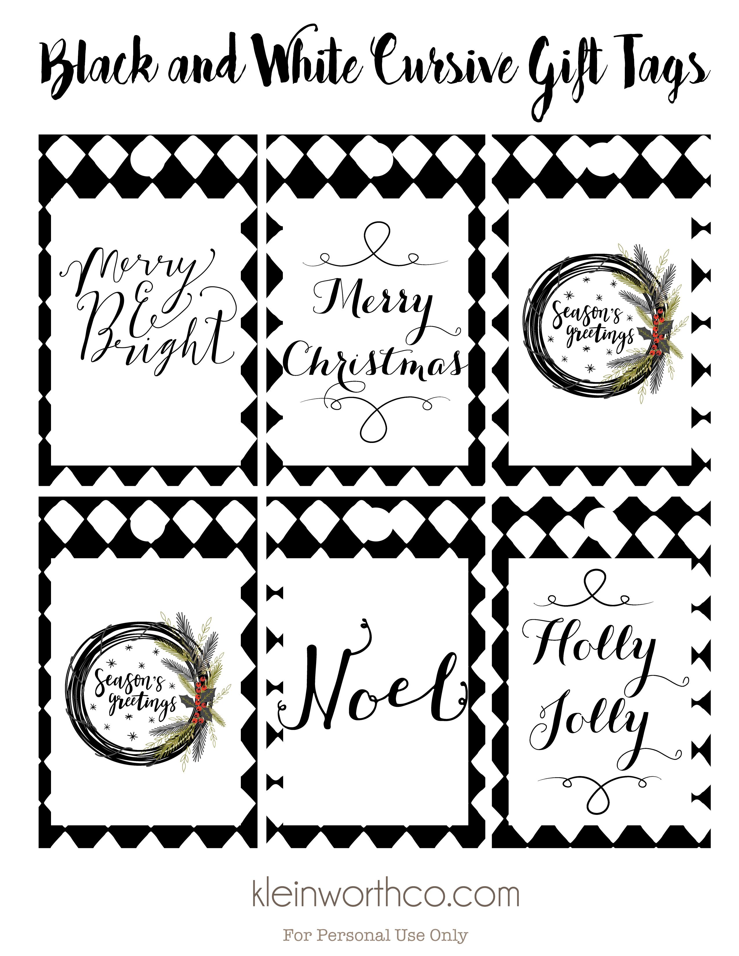 Black And White Cursive Free Printable Gift Tags - Kleinworth & Co - Christmas Gift Tags Free Printable Black And White