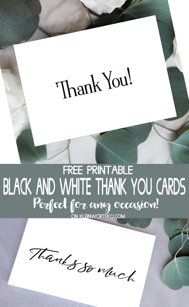 Black & White Thank You Cards - Free Printable - Kleinworth & Co - Free Printable Thank You Cards Black And White