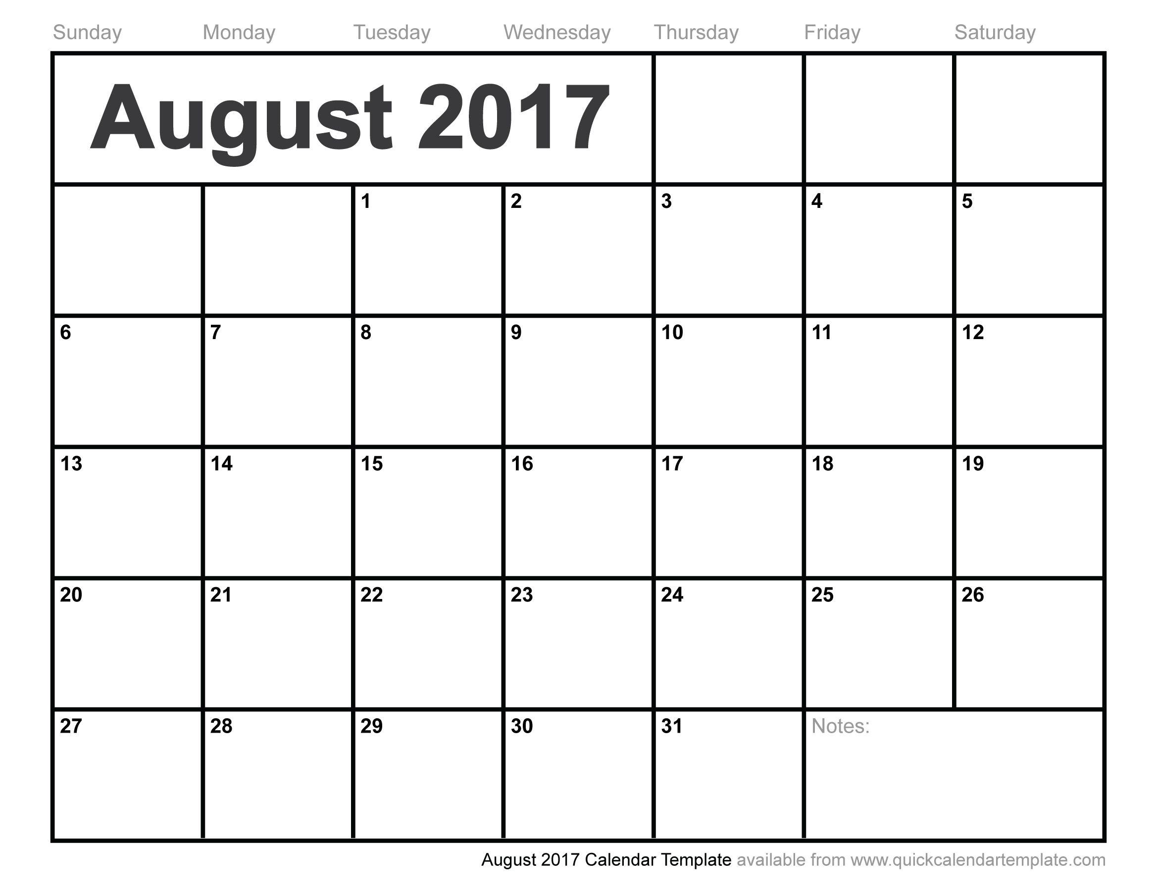 Blank August 2017 Calendar   August 2017 Calendar   June Calendar - Free Printable August 2017