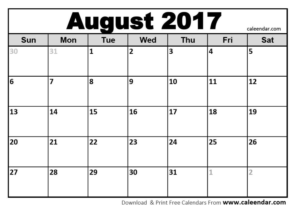 Blank August 2017 Calendar In Printable Format.   Blank August - Free Printable August 2017